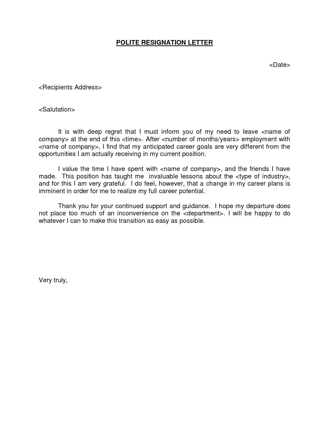 Writing A Resignation Letter Template - Polite Resignation Letter Bestdealformoneywriting A Letter