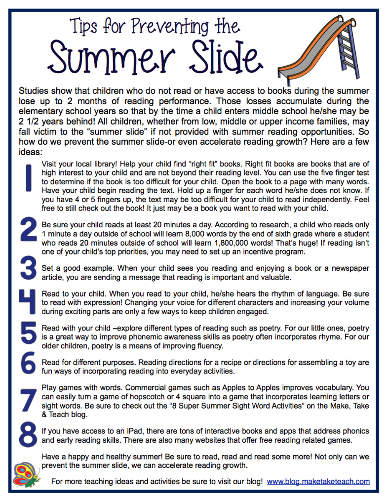 Summer Camp Letter to Parents Template - Preventing the Summer Slide Pinterest