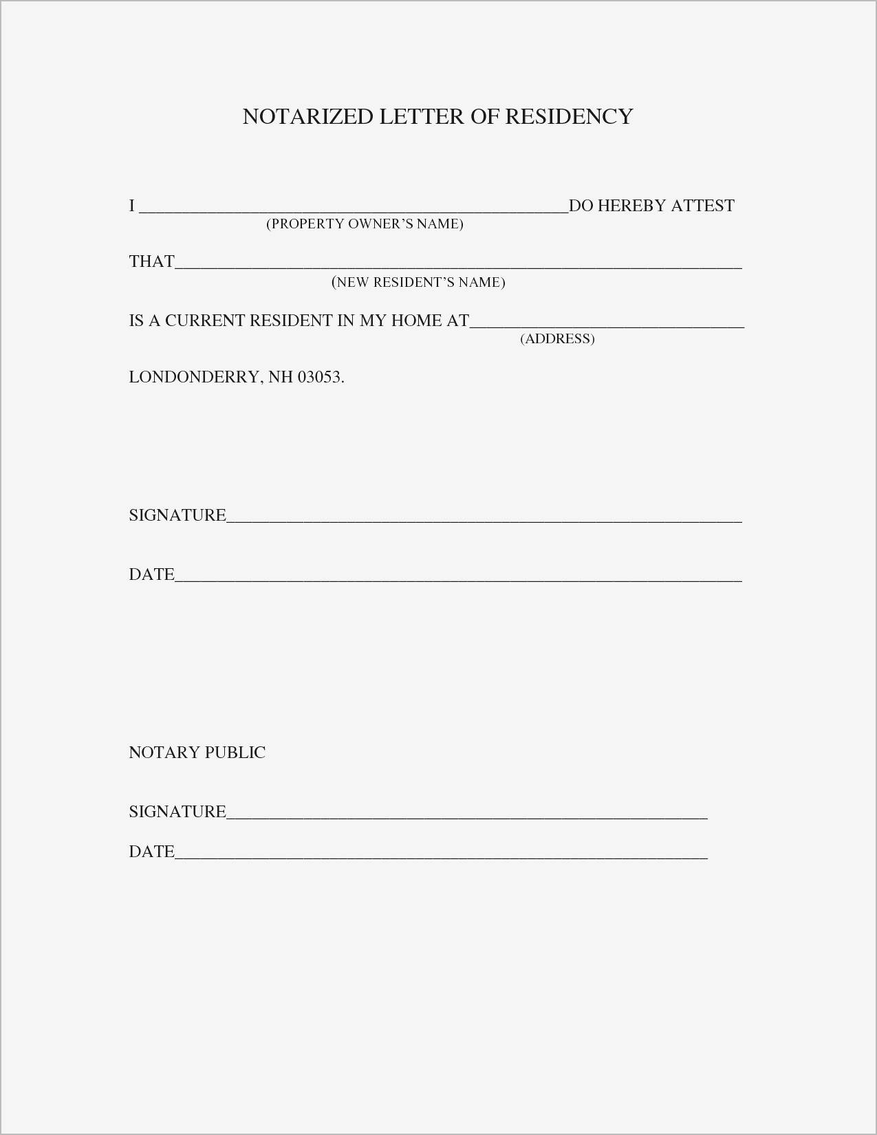 Notary Letter Template - Printable Notarized Letter Residency Template Samples