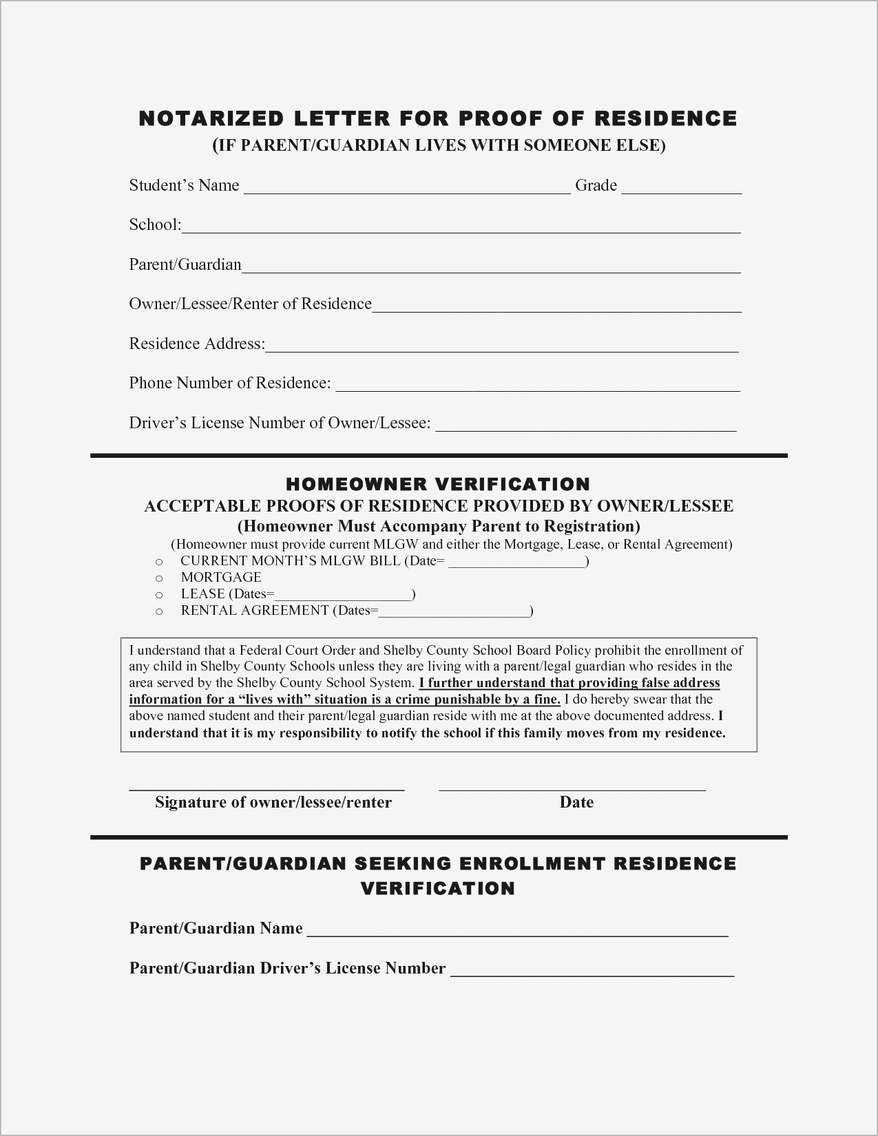 Printable Notarized Letter Of Residency Template - Printable Notarized Letter Residency Template Samples
