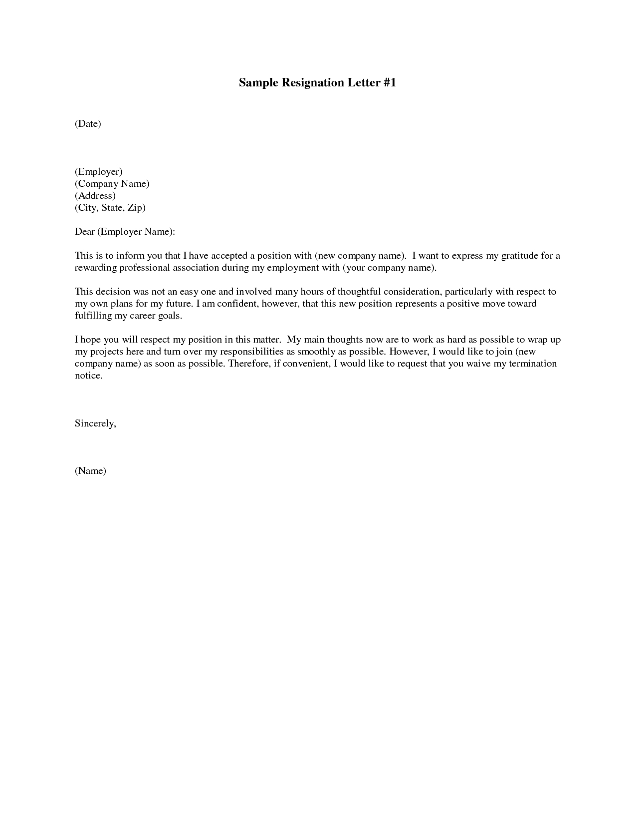 Resignation Letter Template - Printable Sample Letter Of Resignation form