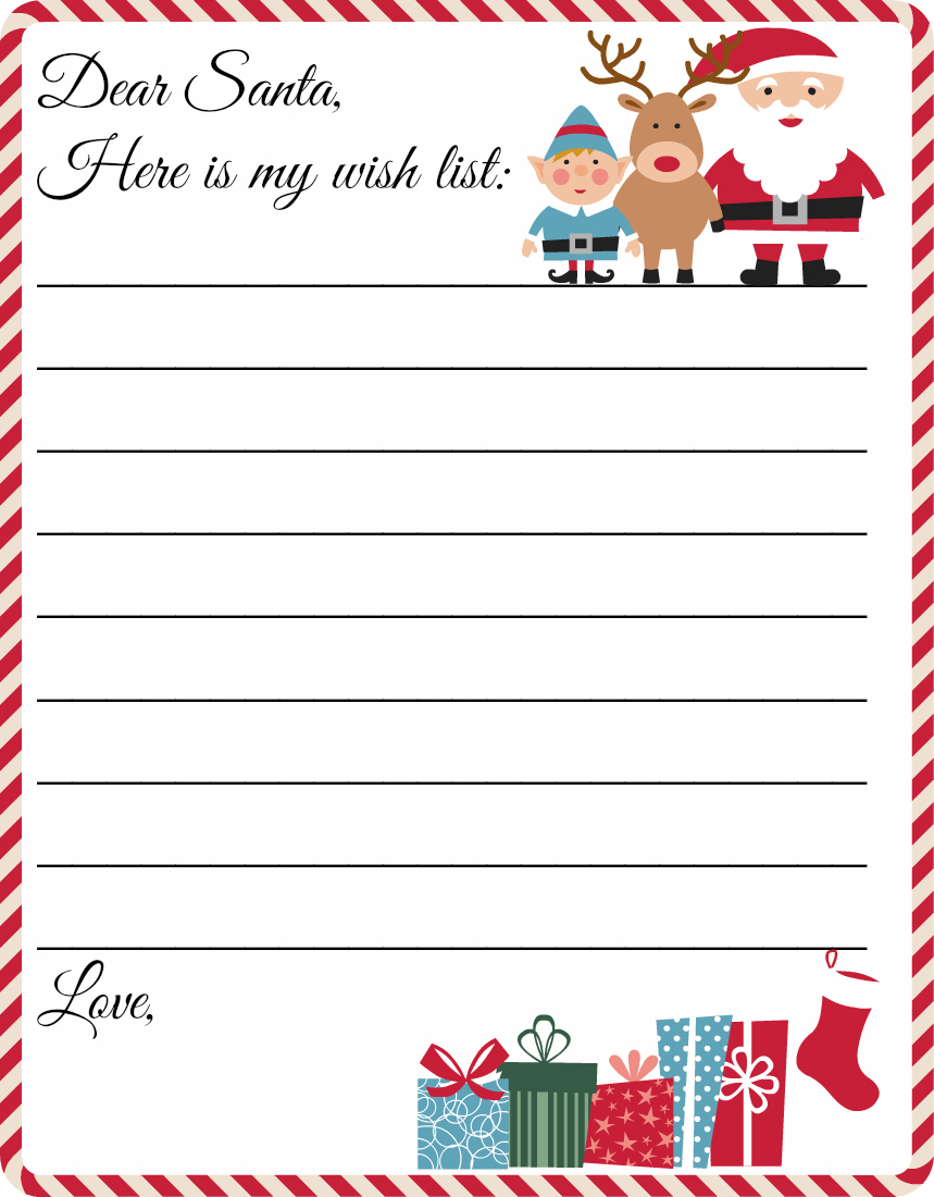 Free Printable Letter From Santa Word Template - Printable Santa Wish List Template