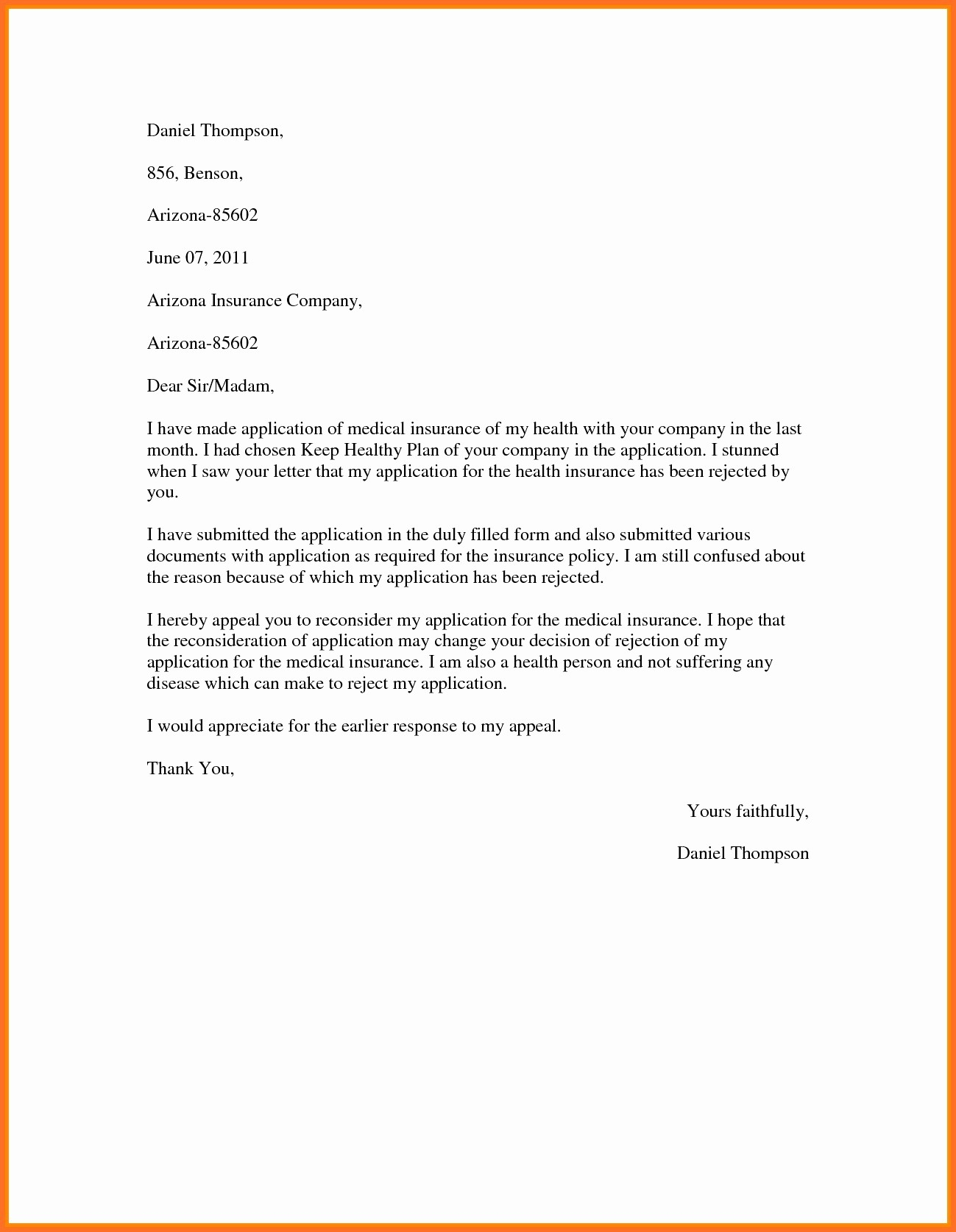 Proof Of Health Insurance Letter Template - Professional Appeal Letter format New Sample Proof Health Insurance