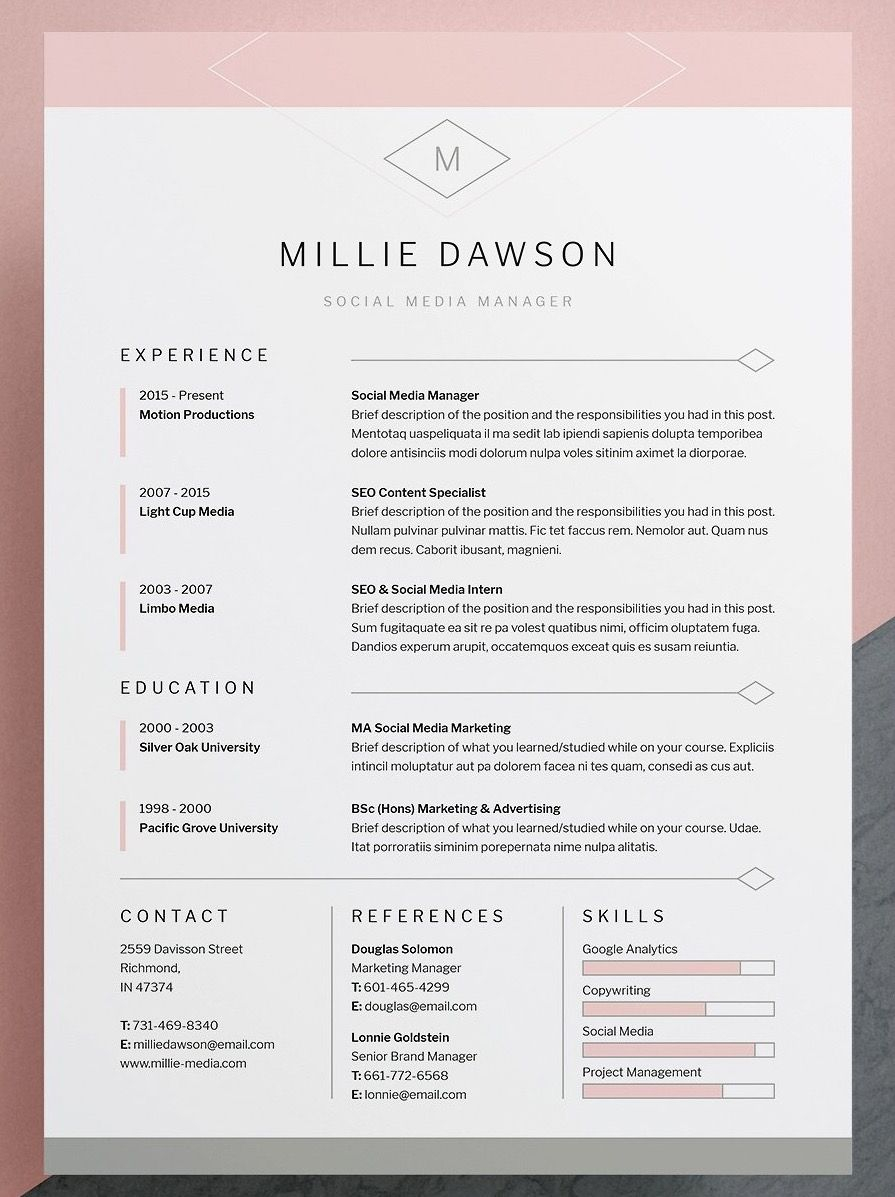 Indesign Letter Template - Professional Elegant Resume Cv Template with Matching Cover Letter