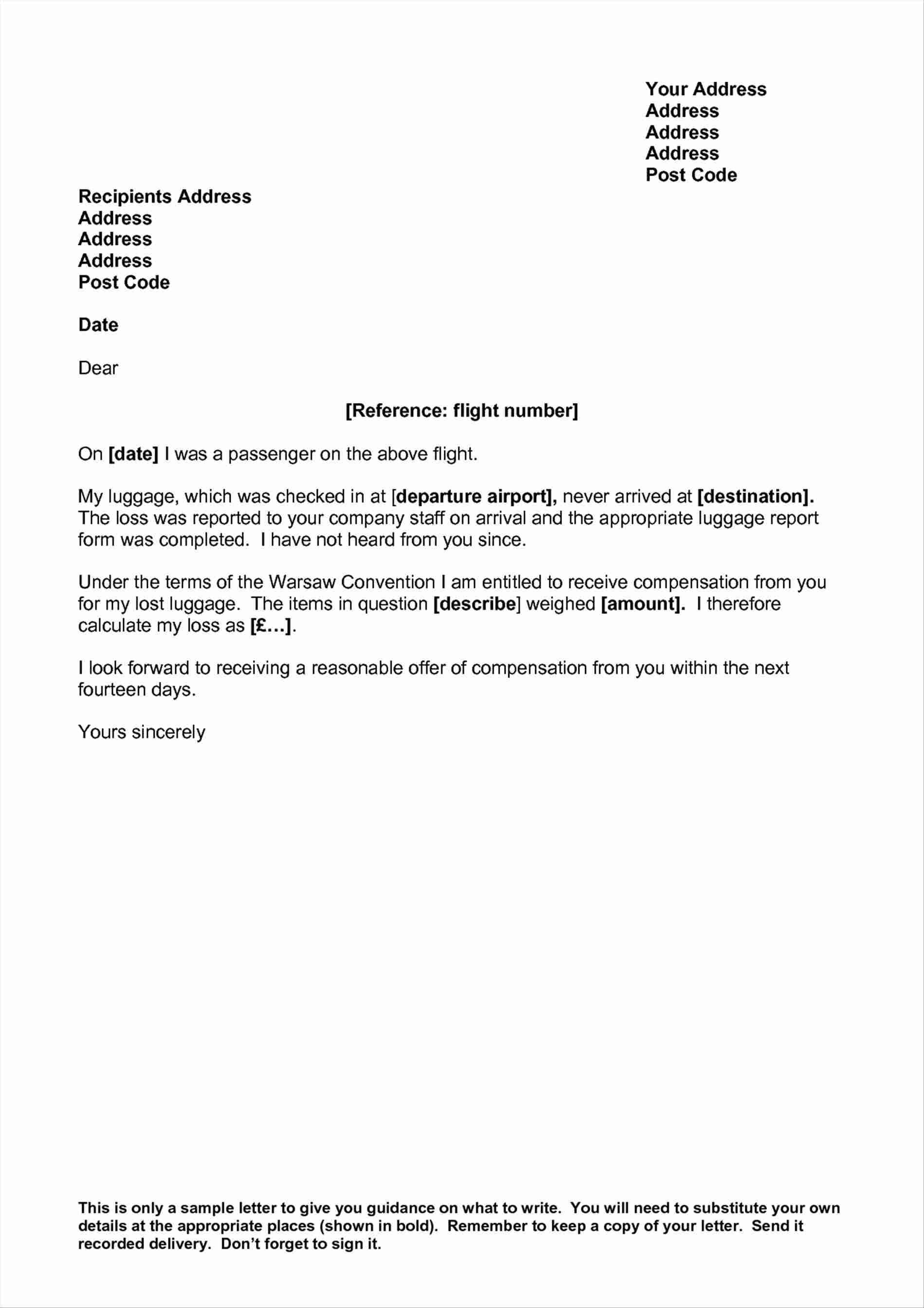 flight delay compensation letter template Collection-Professional Letter format Second Page Fresh Luggage Claim Letter Example Delay Sample Plaint Book Let Know 16-c