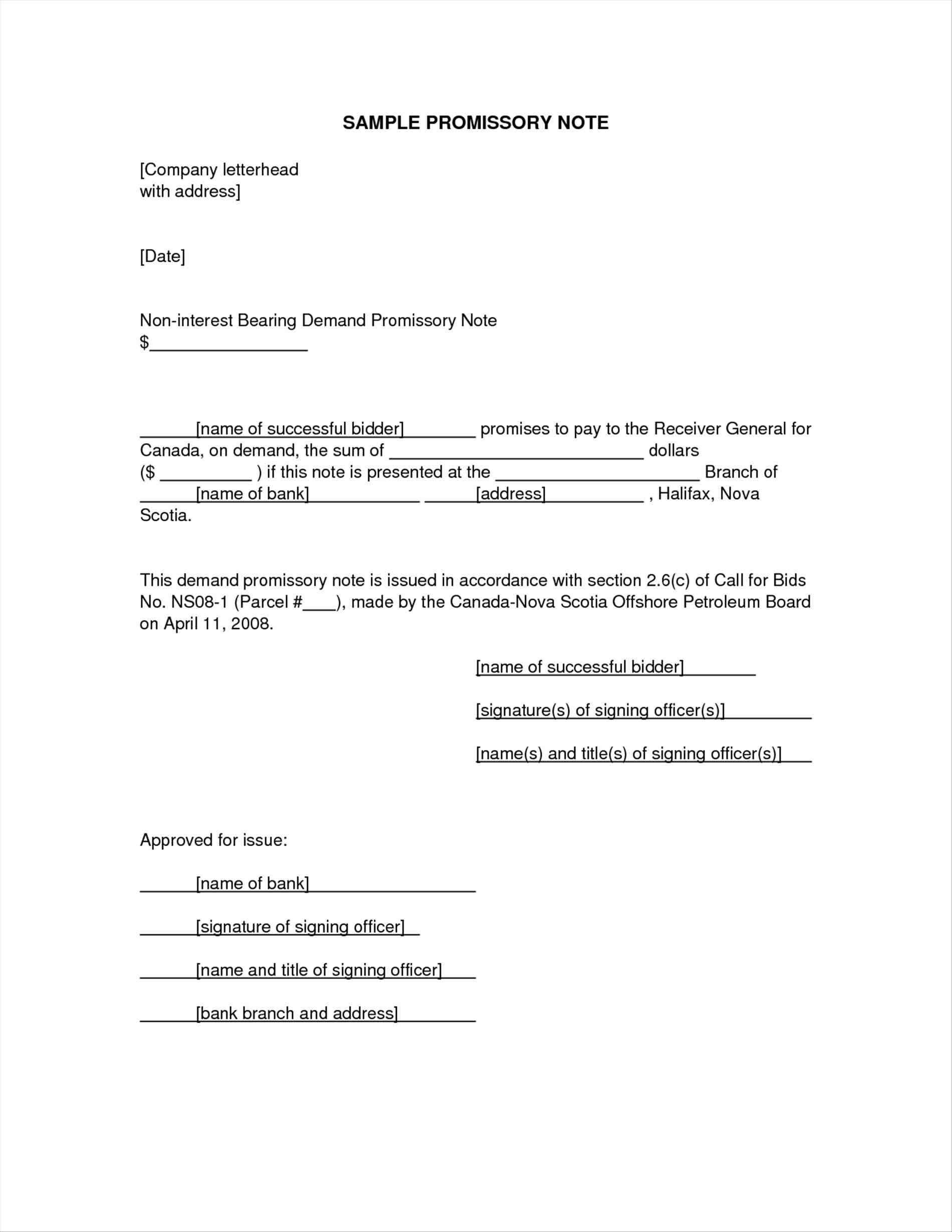Demand Letter Promissory Note Template - Promissory Note Template Canada
