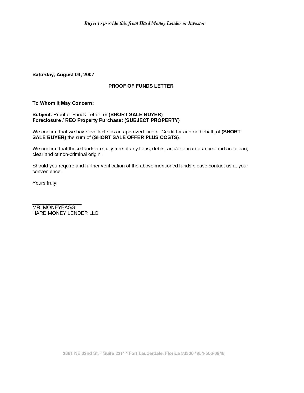 Proof Of Funds Letter Template - Proof Funds Letter Exceptional Free Proof Funds Letter