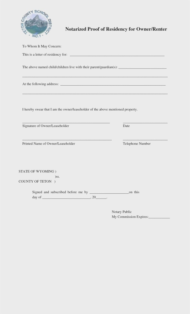 Proof Of Residency Letter Notarized Template - Proof Residency Letter Template Example Letter Proof Residence