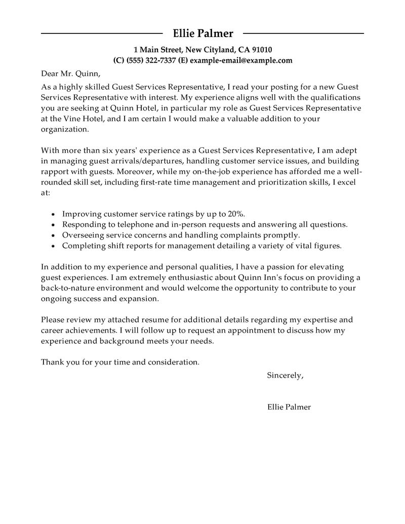 Hospitality Cover Letter Template - Proper Cover Letter format – Docs Template
