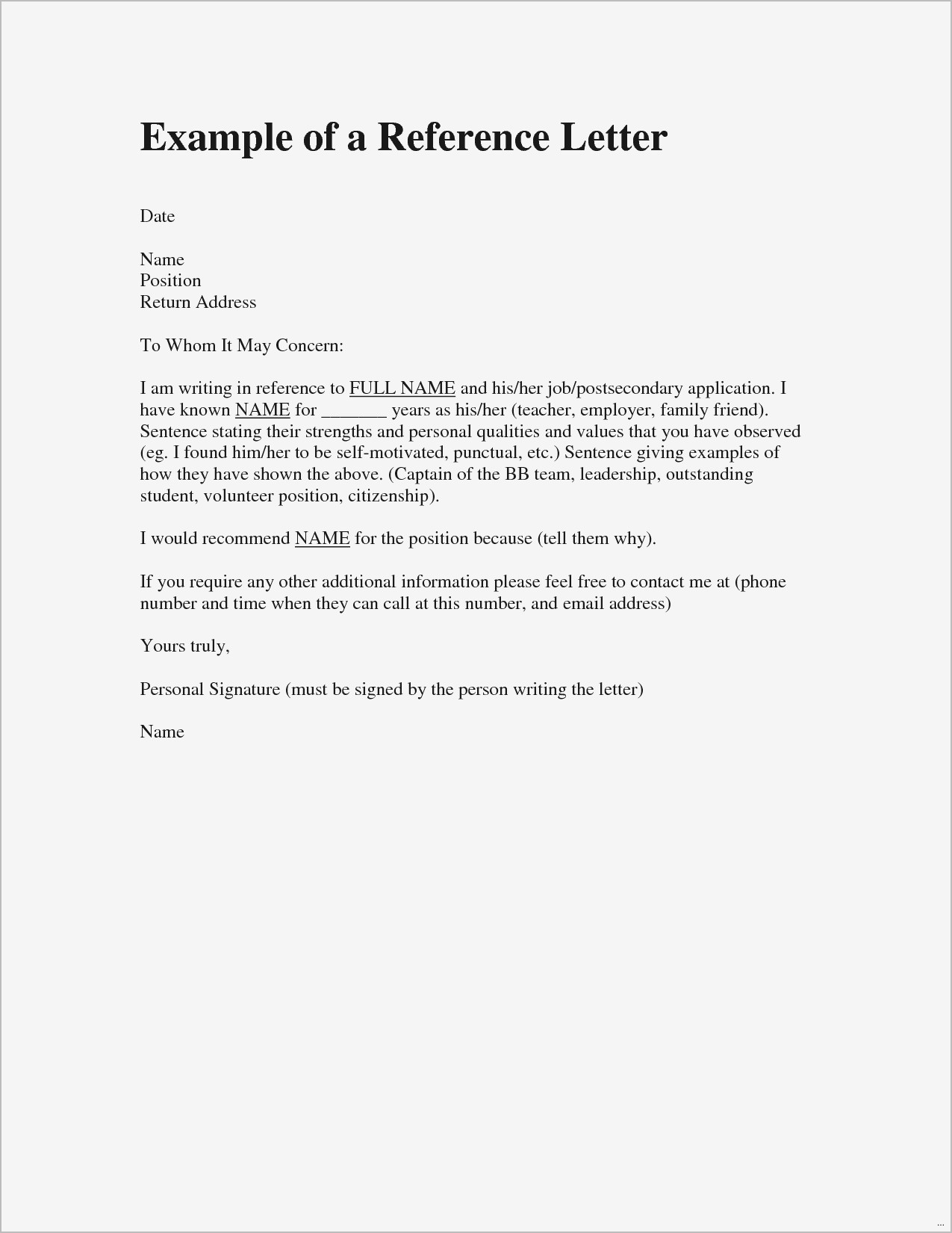 Reference Letter Template for A Friend - Re Mendation Letter for A Friend Samples