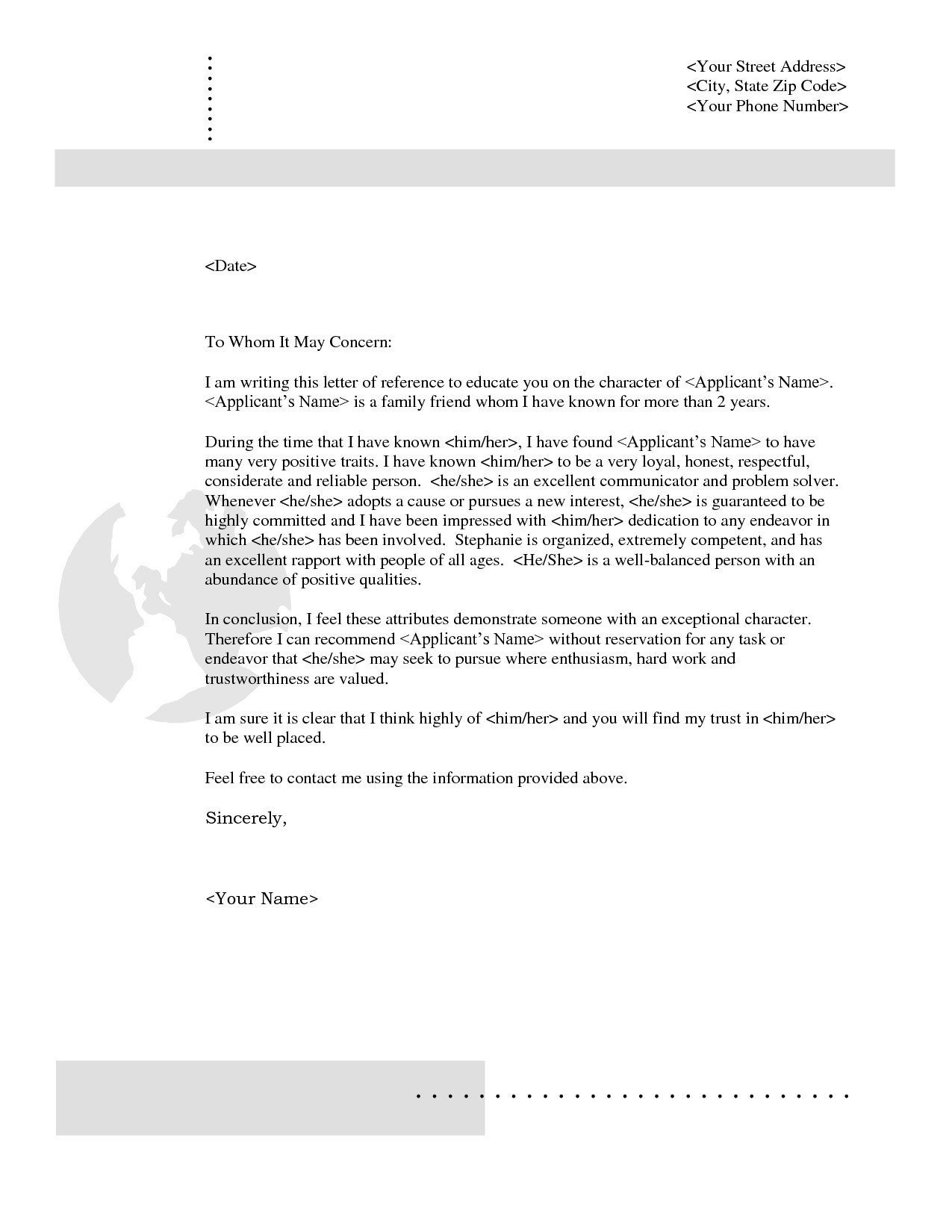 Reference Letter for Friend Character Template - Re Mendation Letter Template Job Copy Example Reference Letter for