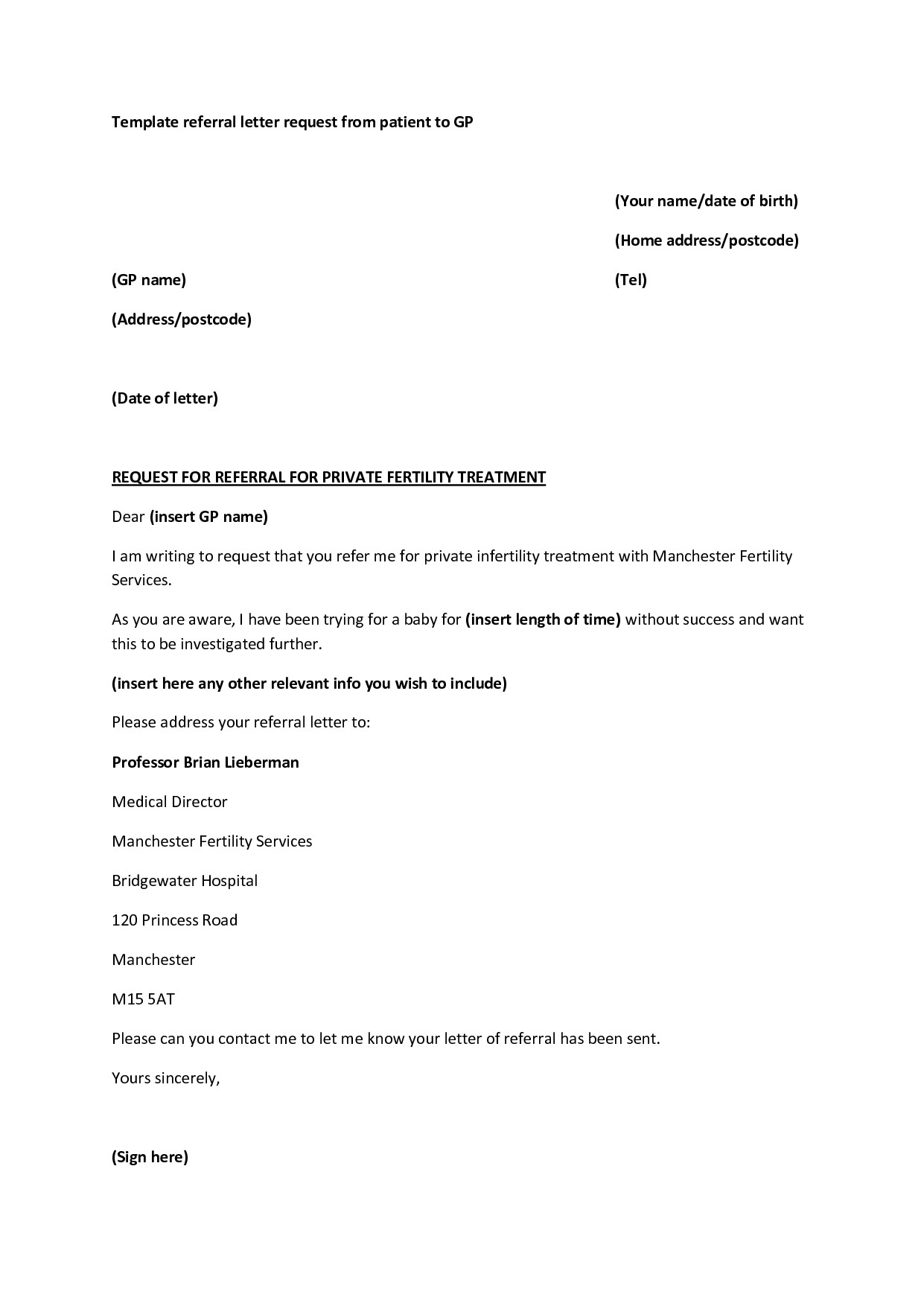 sample doctor referral letter template examples letter templates
