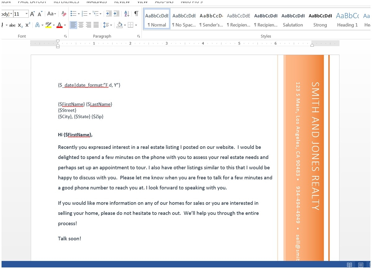 commercial real estate prospecting letter template samples letter