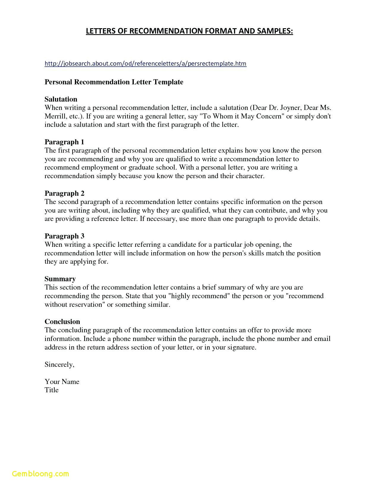 Resume for Letter Of Recommendation Template - Reference Letter format Personal Fresh References for Resume