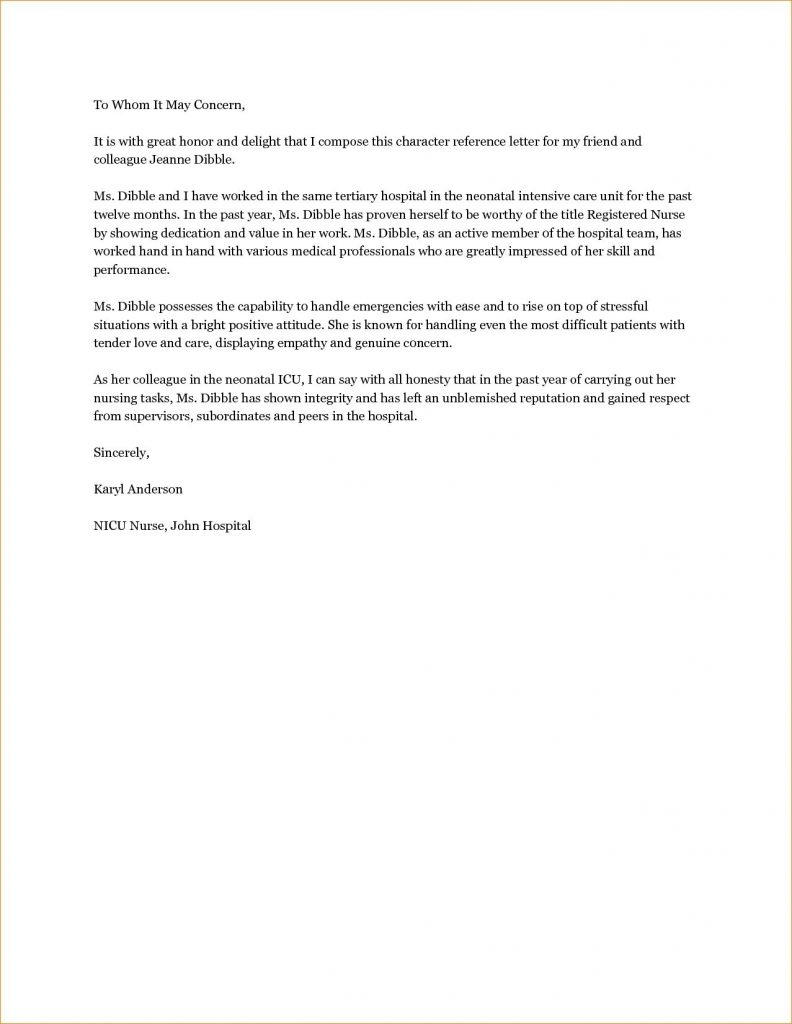 Good Character Reference Letter Template - Reference Letter format Personal Refrence Re Mendation Letter