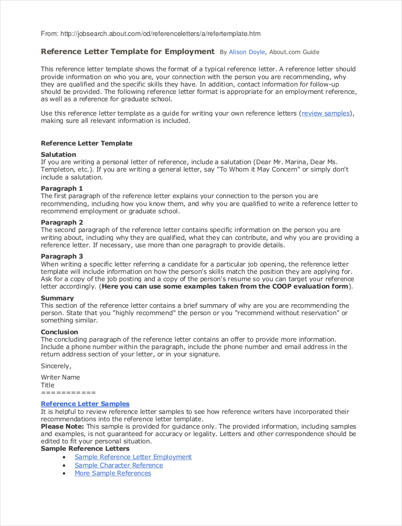 Professional Reference Letter Template - Reference Letter Job 29 Sample Template for Employment 1 Portrait