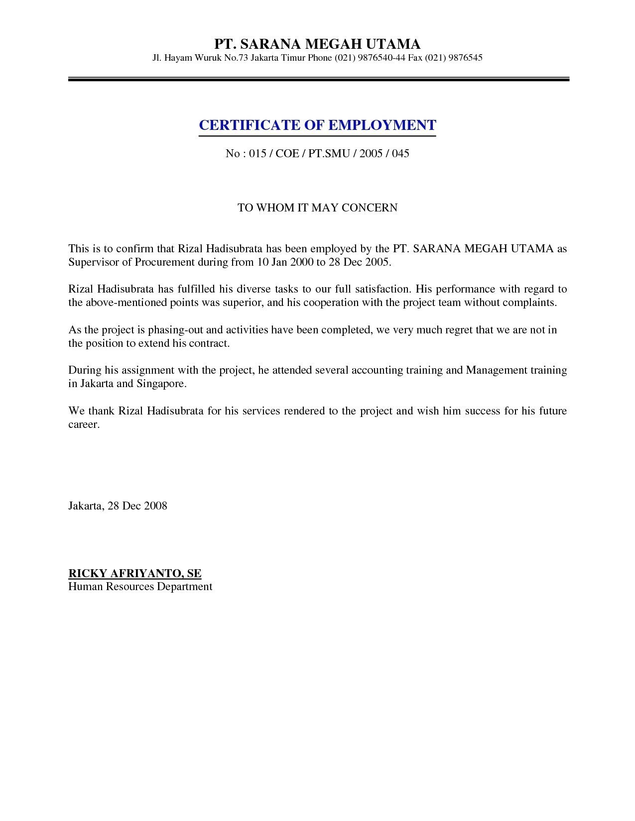 Statement Of Service Letter Template - Refrence Sample Certificate Employment with Salary Indicated Best