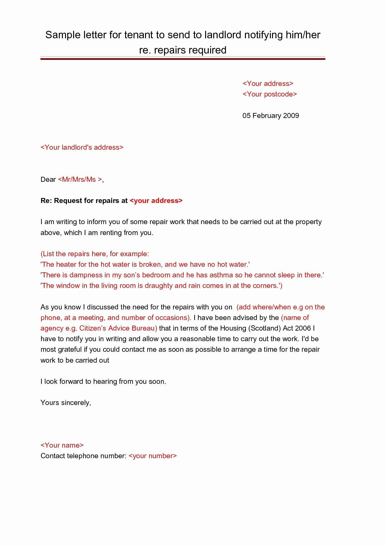Notice Letter to Tenant From Landlord Template - Rent Late Notice Template Luxury Notice Letter to Landlord Template