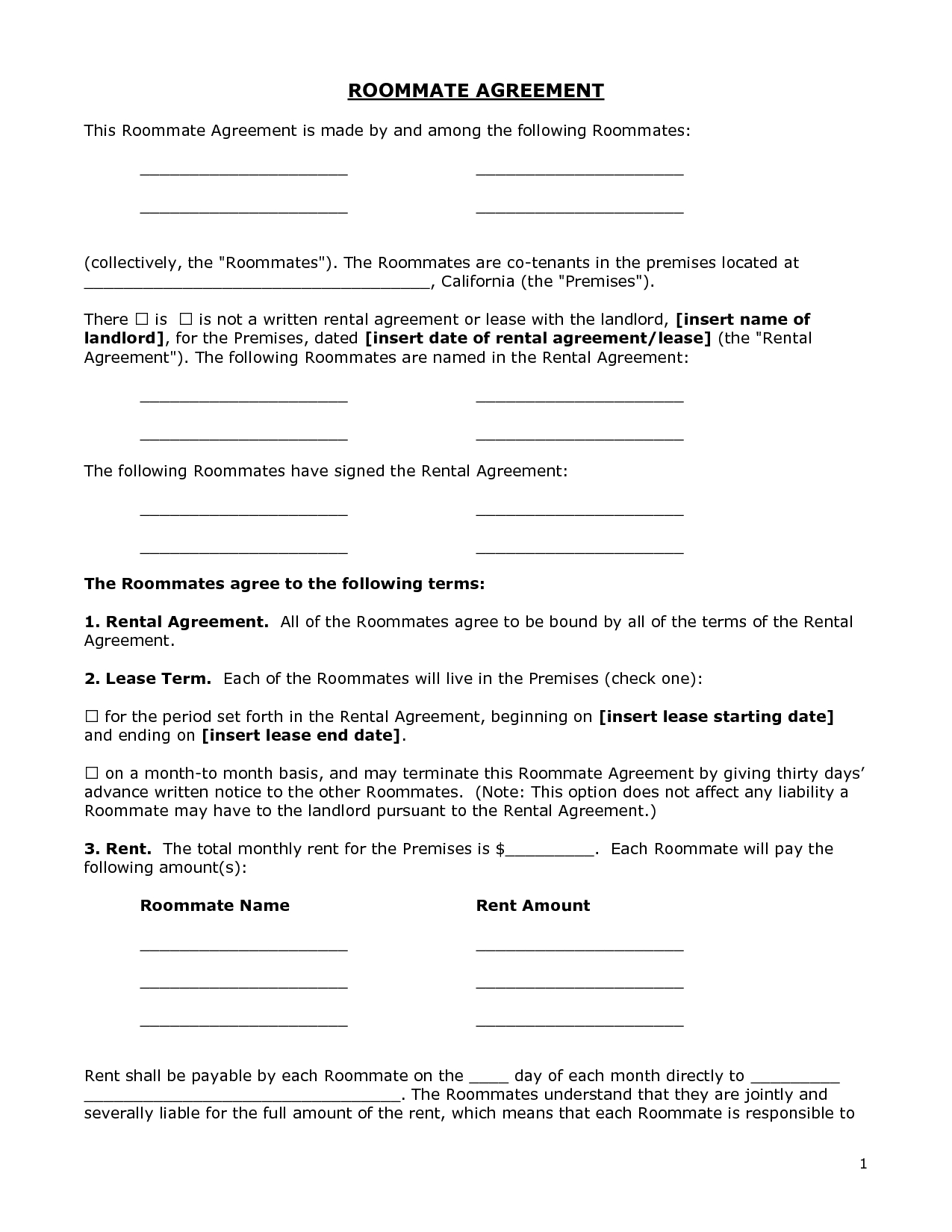 Month to Month Lease Termination Letter Template - Renters Agreement form Doc by Bgf Roommate Agreement