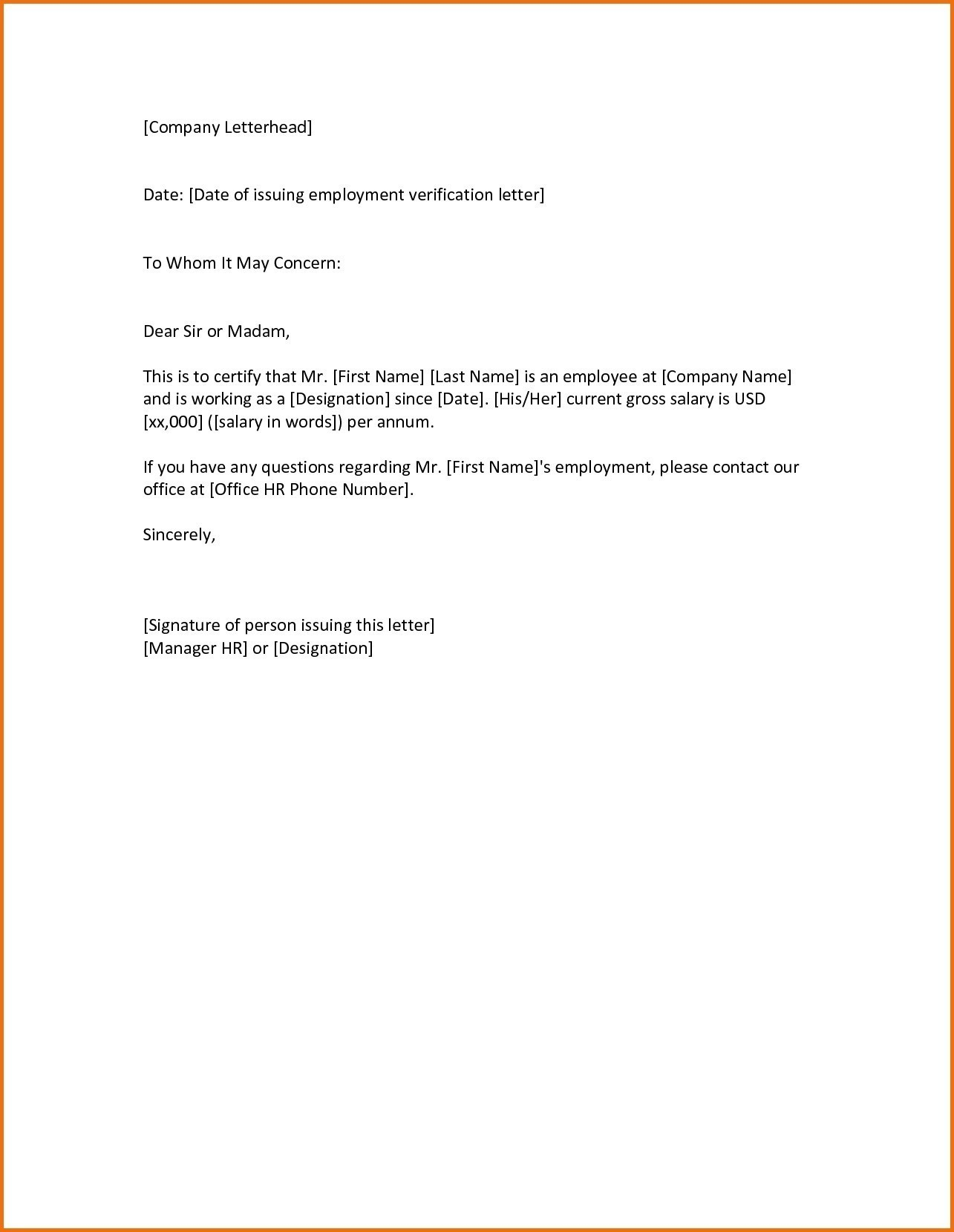 Employment Verification Letter To Whom It May Concern Template