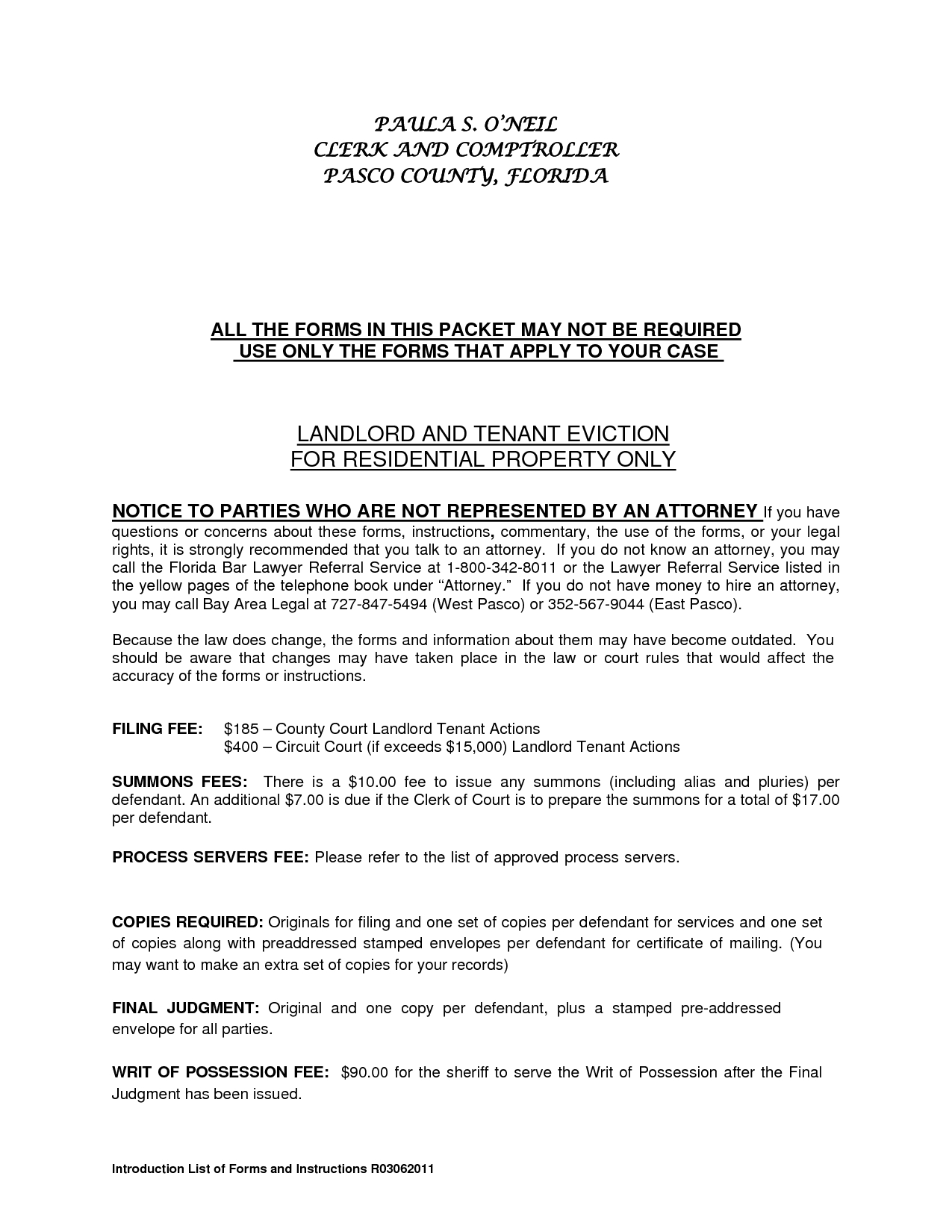 Eviction Letter Template Florida - Residential Landlord Tenant Eviction Notice form by Ere