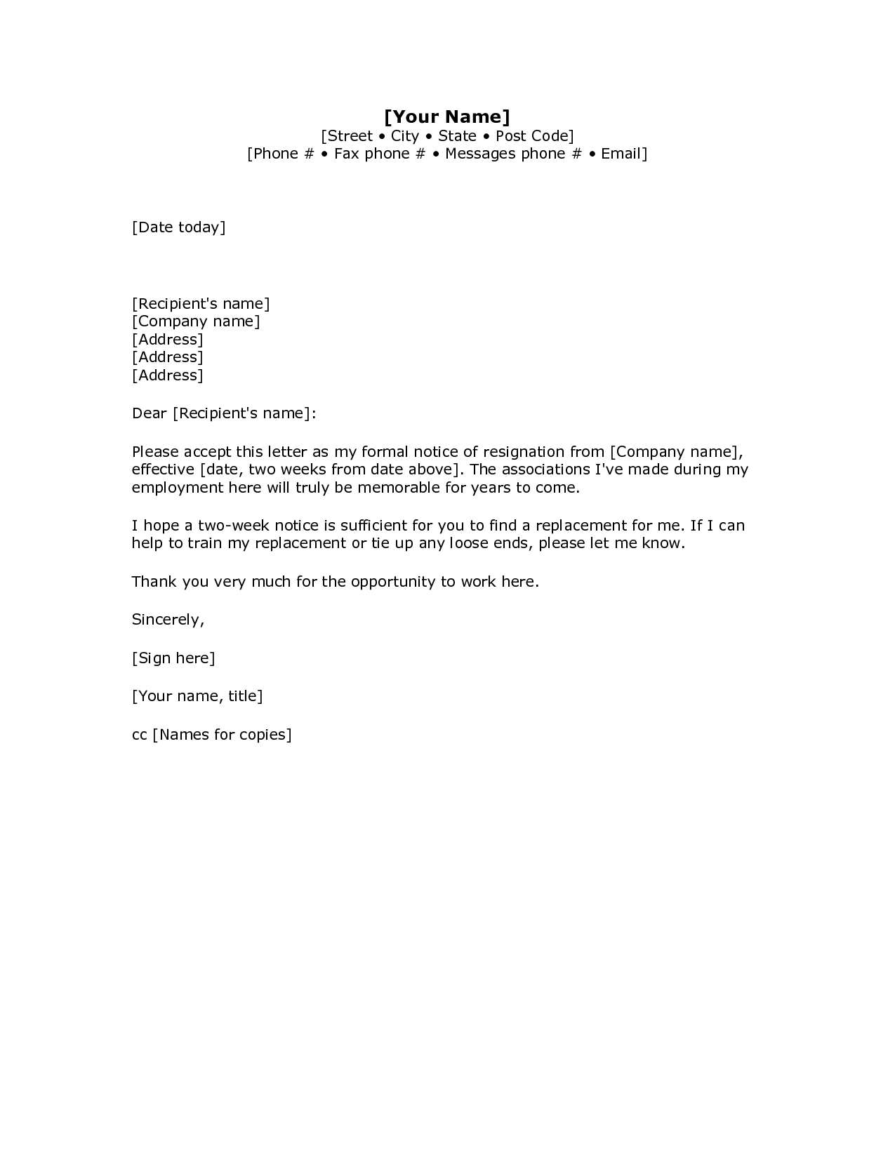 Resignation Letter Template Word - Resignation Letter Examples 2 Weeks Notice Acurnamedia