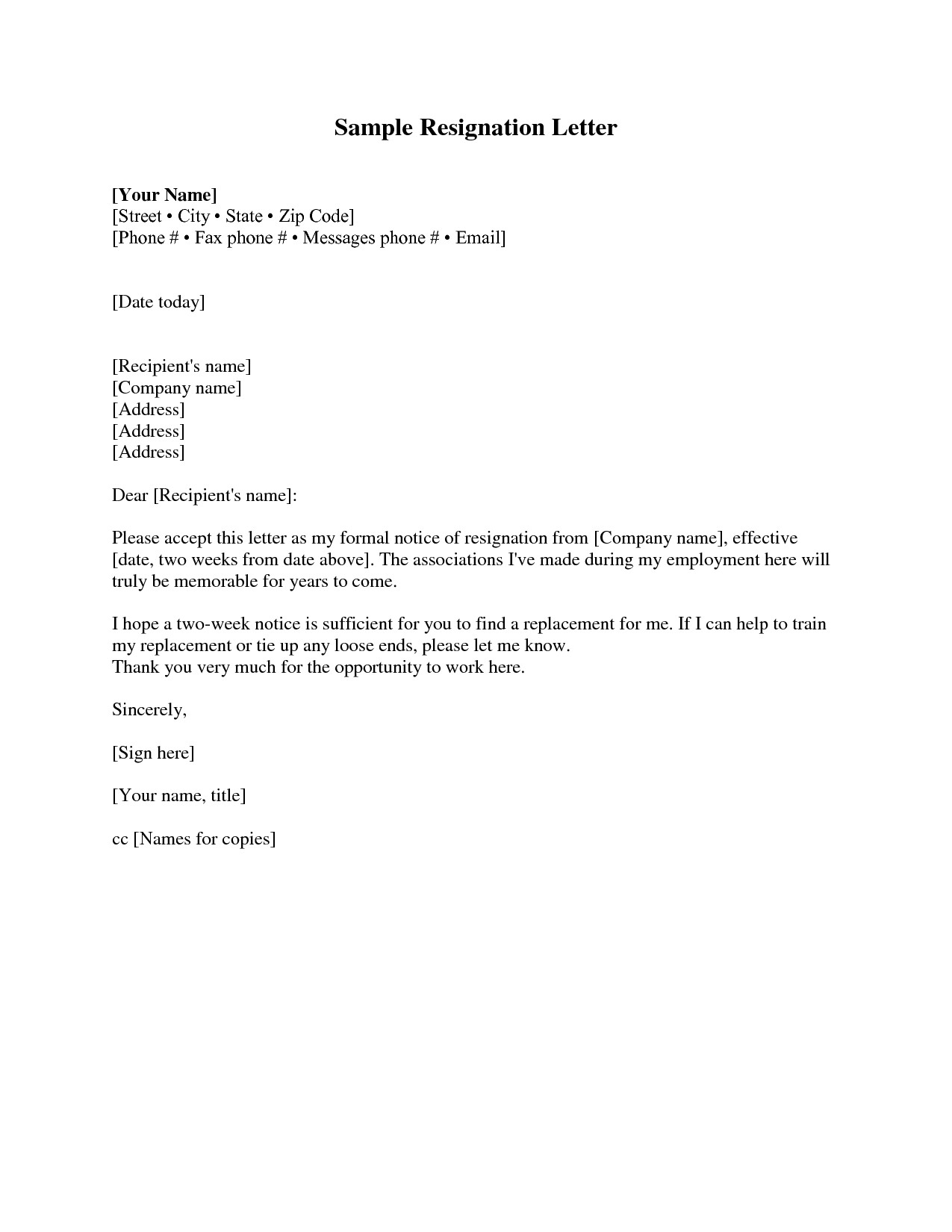 Sample Resignation Letter Template - Resignation Letter Examples 2 Weeks Notice Acurnamedia