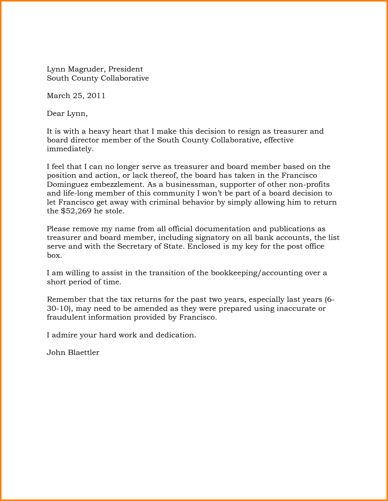 board member removal letter template example-Resignation Letter From Board Highest Clarity Sample Non Profit Member Great Example Treasurer Position pany Directors 15-c