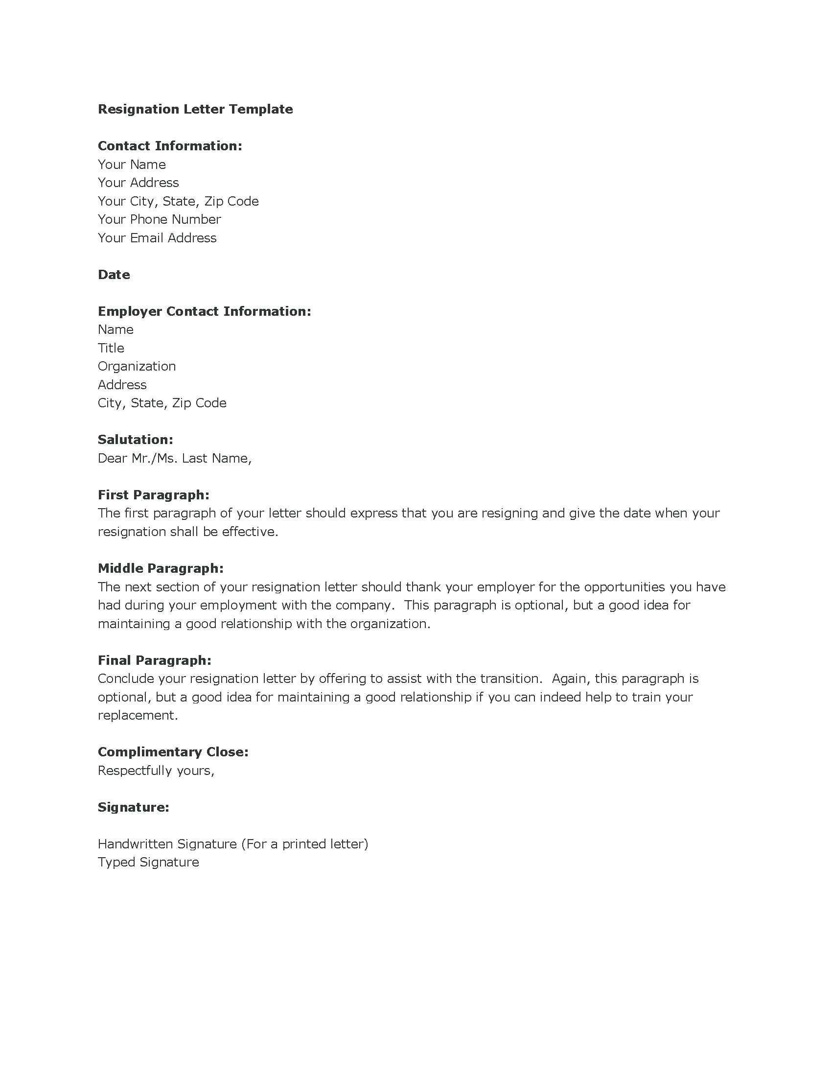 Microsoft Word Resignation Letter Template   Resignation Letter In Ms Word  Sarahepps