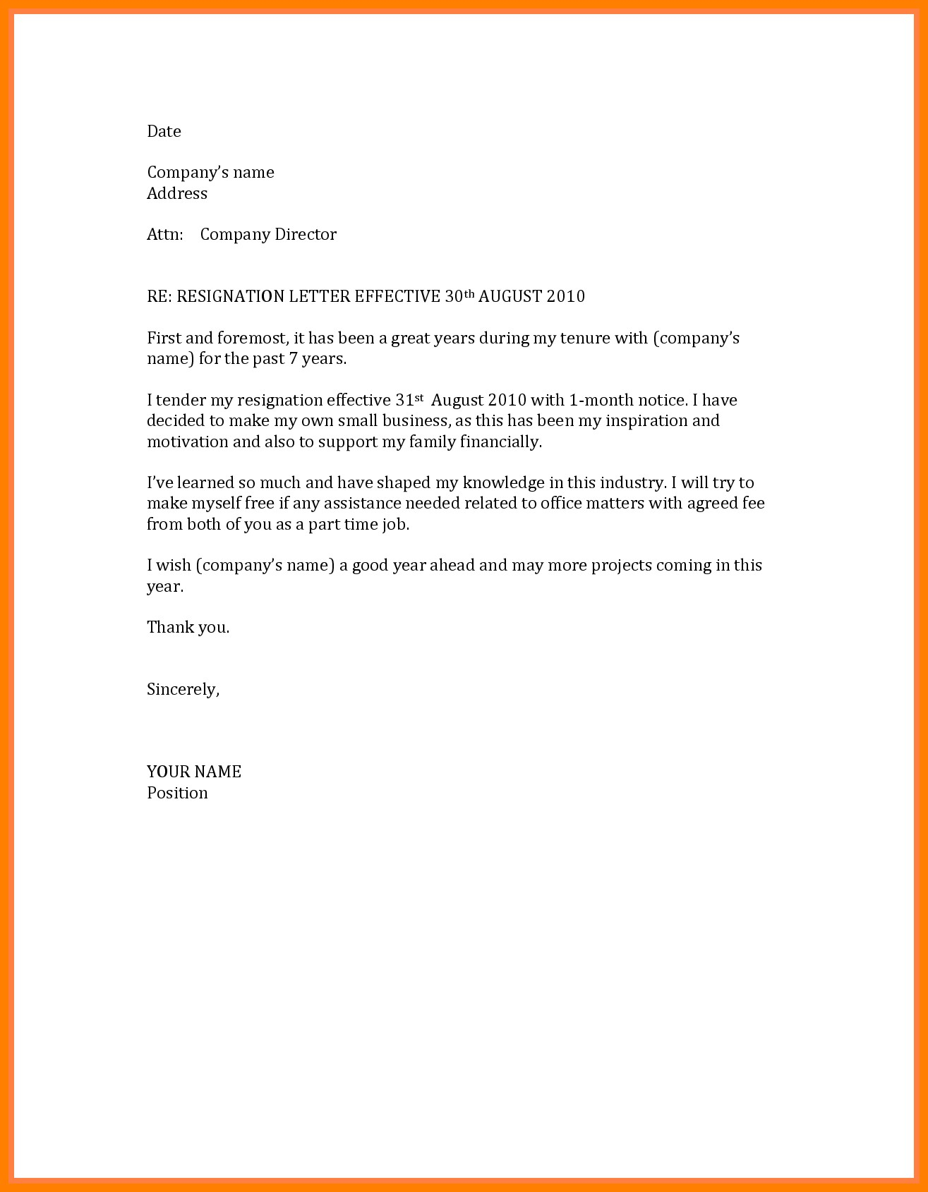 Sample Resignation Letter Template Collection | Letter Templates