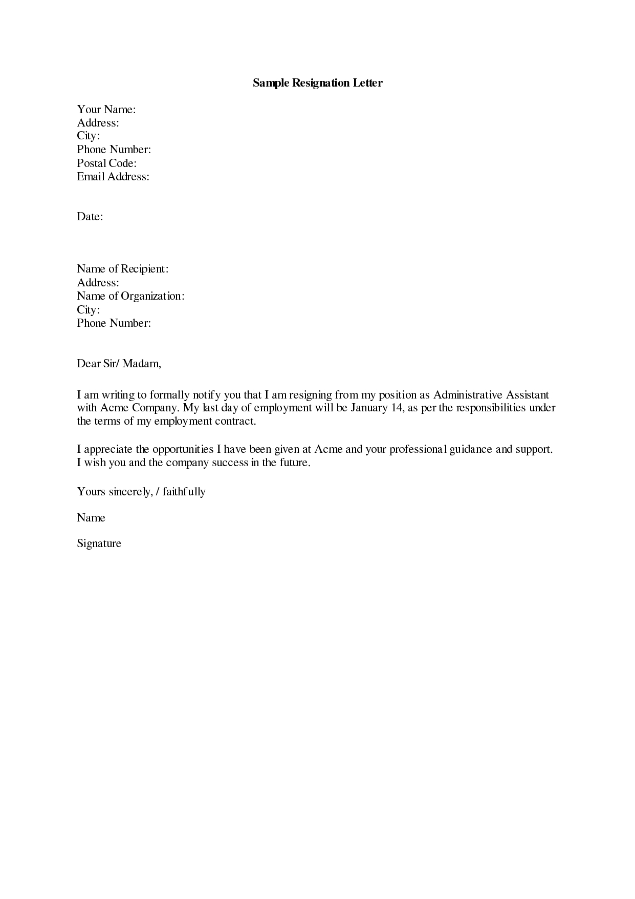 Resignation Letter Template Free - Resignation Letter Sample 19 Letter Of Resignation