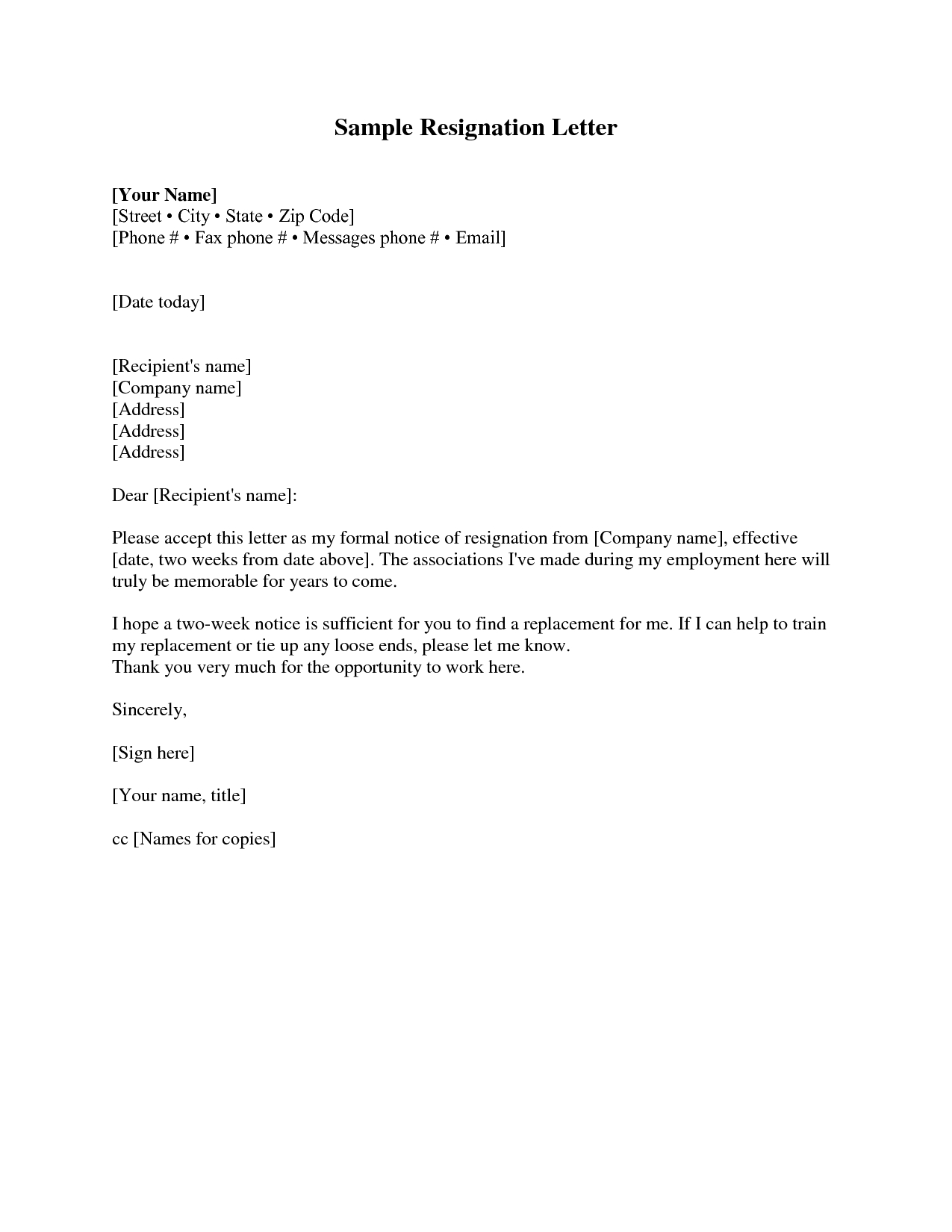 Formal Resignation Letter Template - Resignation Letter Sample 2 Weeks Notice Free2img