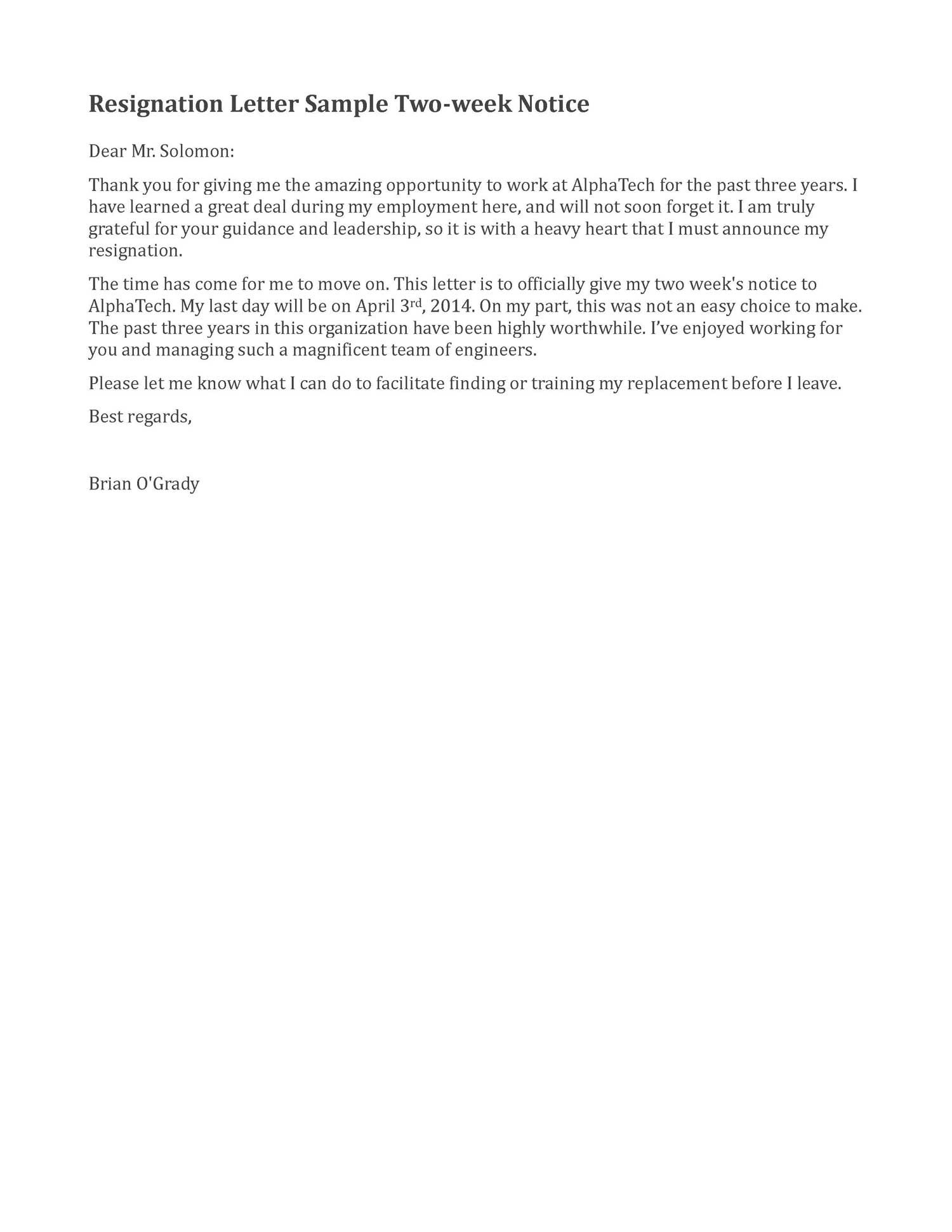 2 Week Resignation Letter Template - Resignation Letter Sample 2 Weeks Notice Google Search