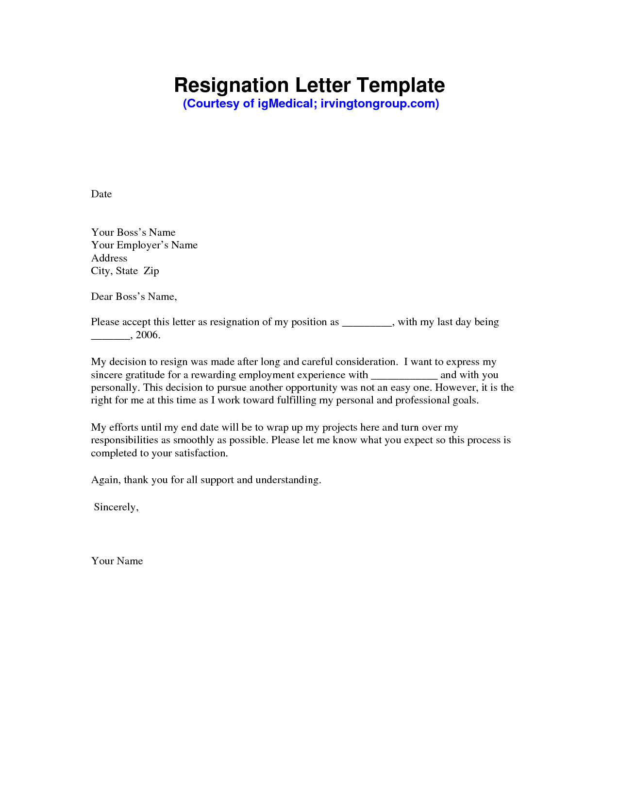 Microsoft Word Resignation Letter Template   Resignation Letter Sample Pdf Resignation  Letter