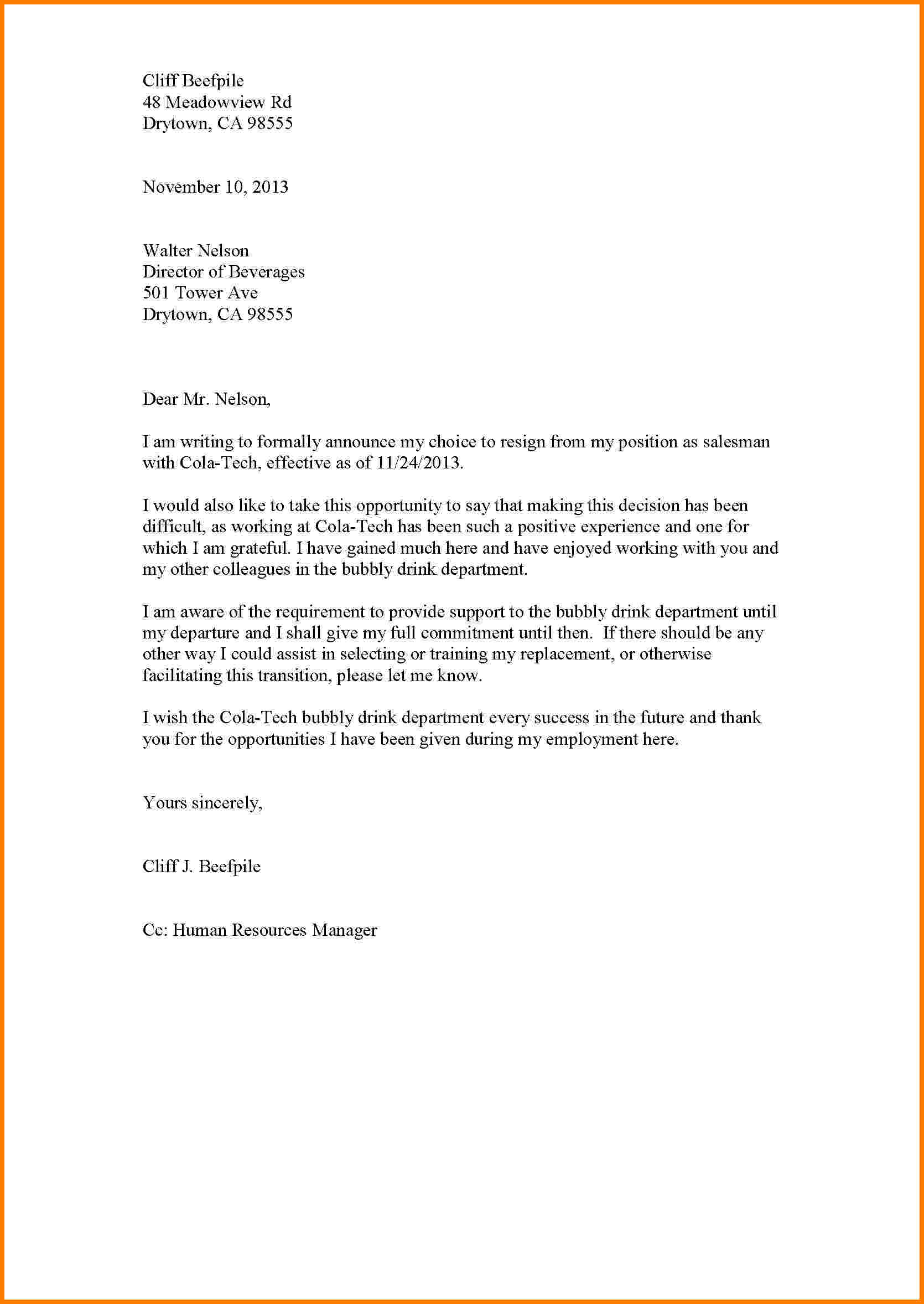 Standard Resignation Letter Template Word - Resignation Letter Template formal Sales Slip Teacher Free Image