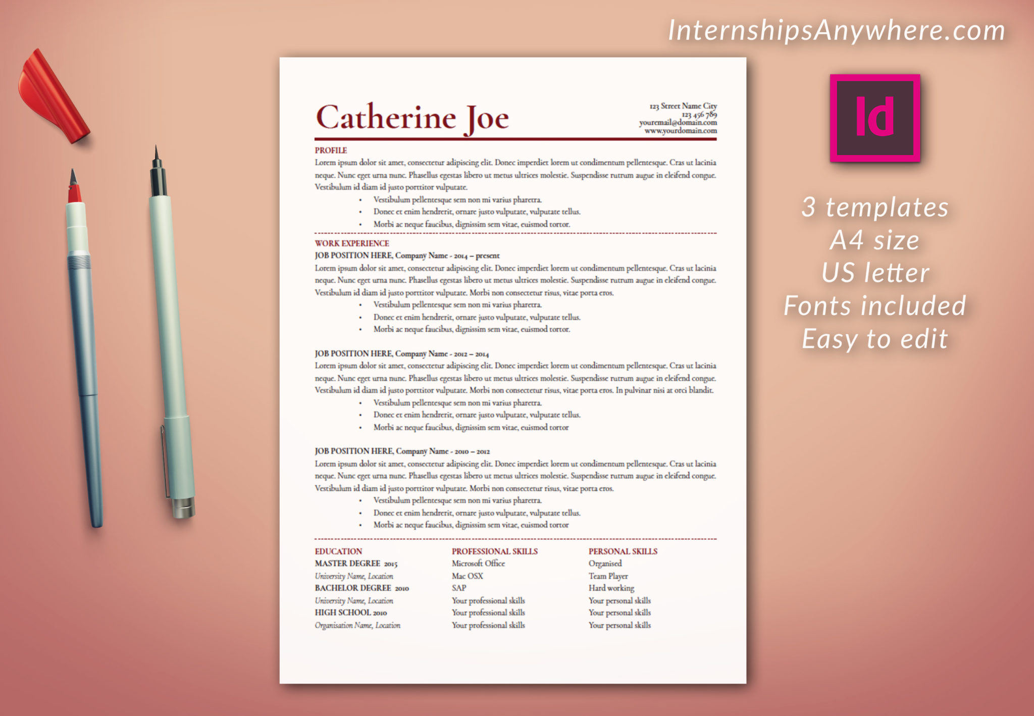 Indesign Letter Template - Resume Template Including Cover Letter and References Template