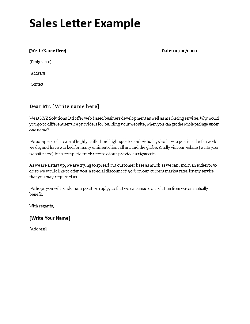 sales letter template promoting a service Collection-Sales Letter Example Sales Letter Examplecx Easy to and 12-d