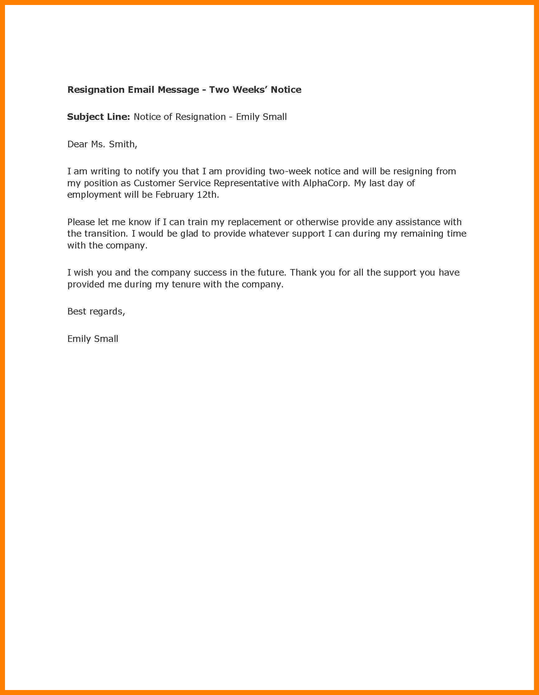 I Quit Letter Template - Sample 2 Week Notice Letter Acurnamedia