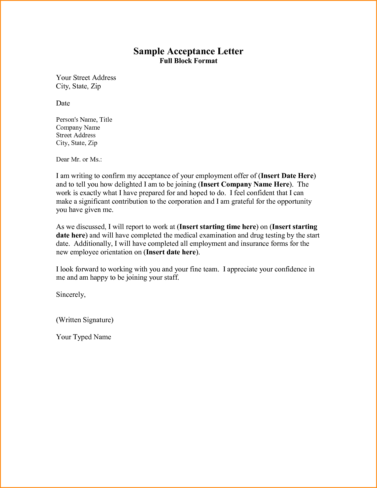business proposal acceptance letter template sample acceptance letter full block format your street address