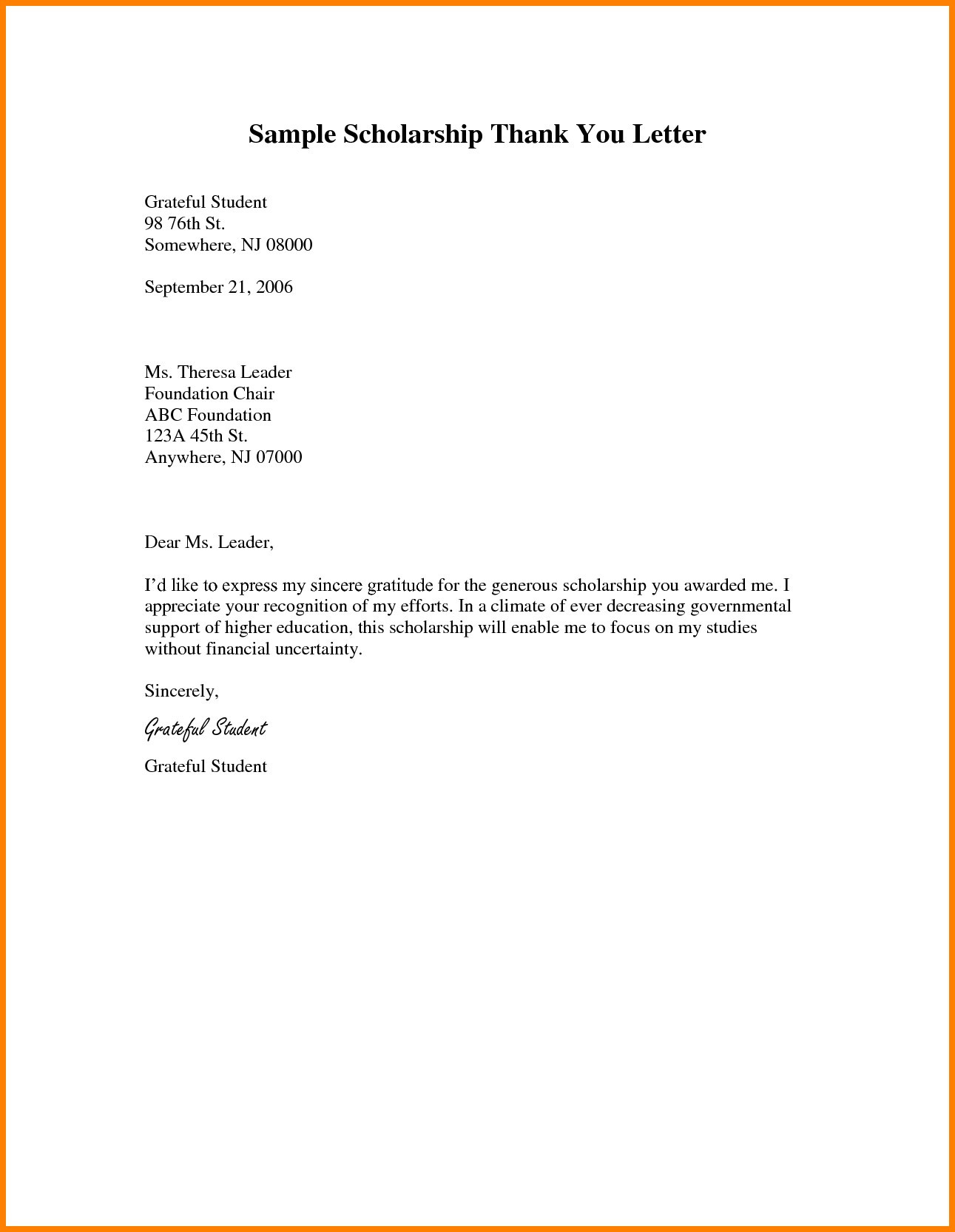 Scholarship Thank You Letter Template Samples Letter Templates