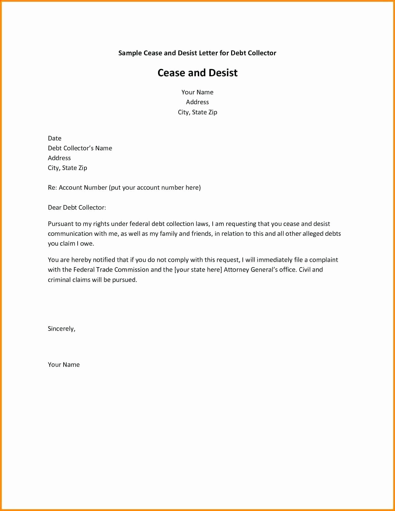 General Cease and Desist Letter Template - Sample Cease and Desist Letter to former Employee Awesome Cease and