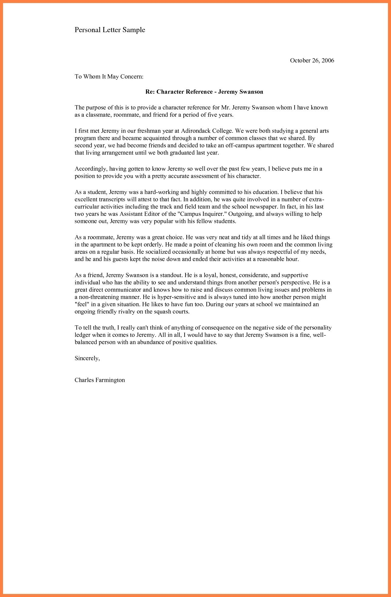 Personal Letter Of Recommendation For A Friend Template Samples