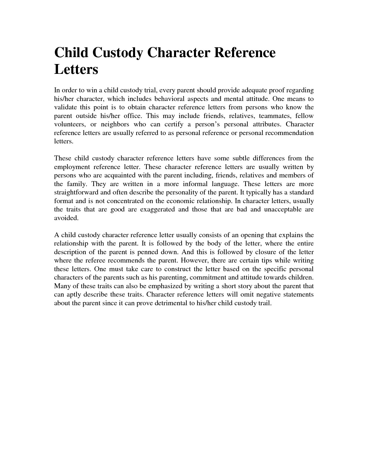 Character Reference Letter For Court Child Custody Template Examples