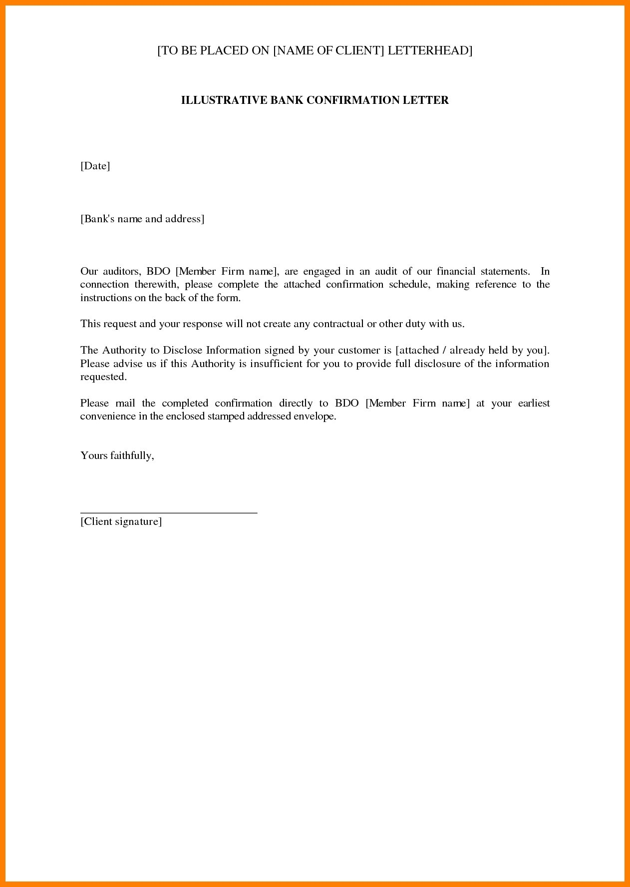 audit confirmation letter template Collection-Sample Confirmation New Sample Audit Letter In Bank New Bank Balance Confirmation 10-o