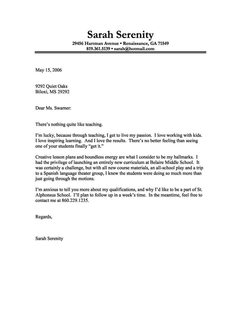 Cv Cover Letter Template - Sample Cover Letter for Teacher Resume Samples