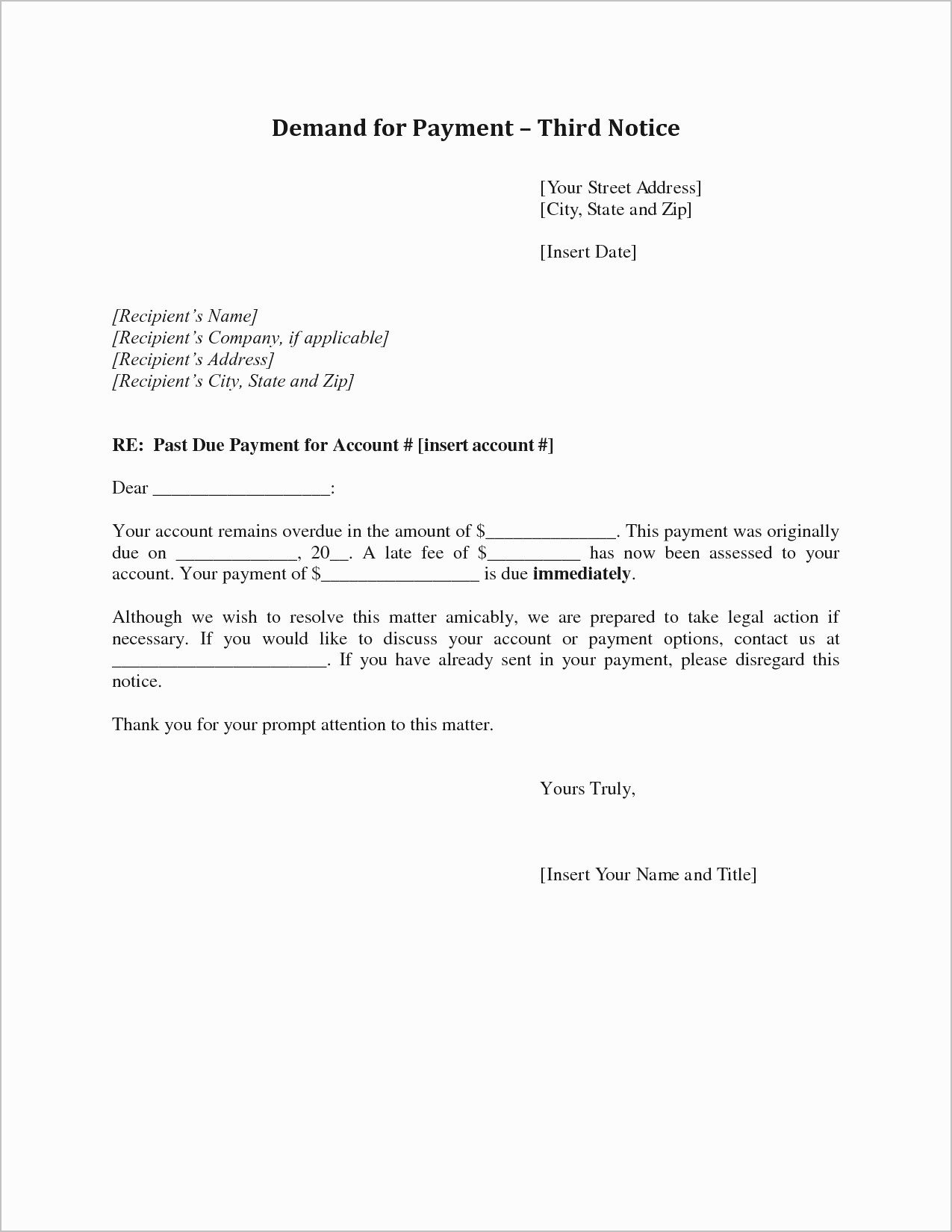 Rent Free Letter Template for Mortgage - Sample Demand Letter for Unpaid Rent Beautiful Letter Od Demand