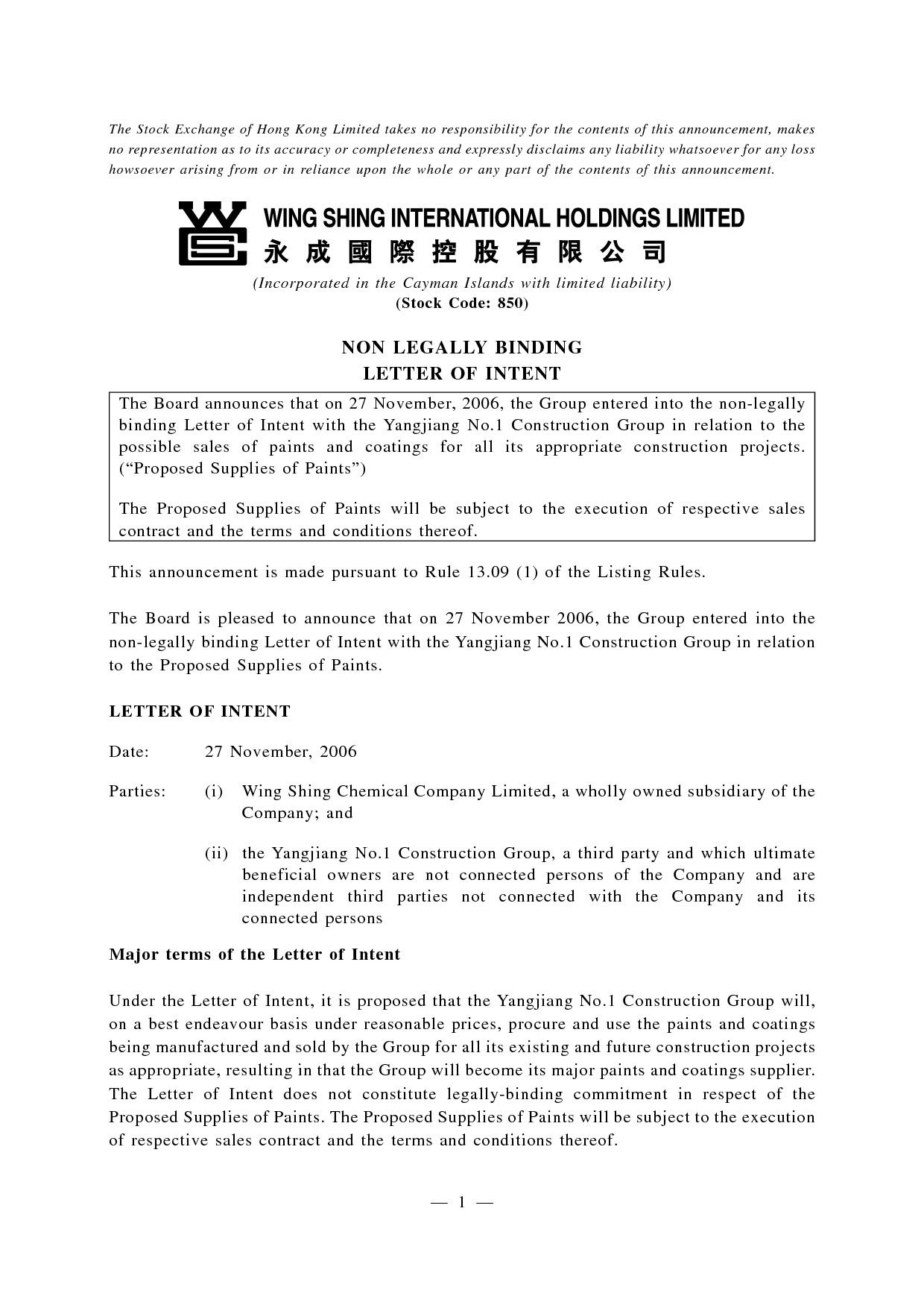 Construction Letter Of Intent Template - Sample Disclaimer Letter Non Responsibility