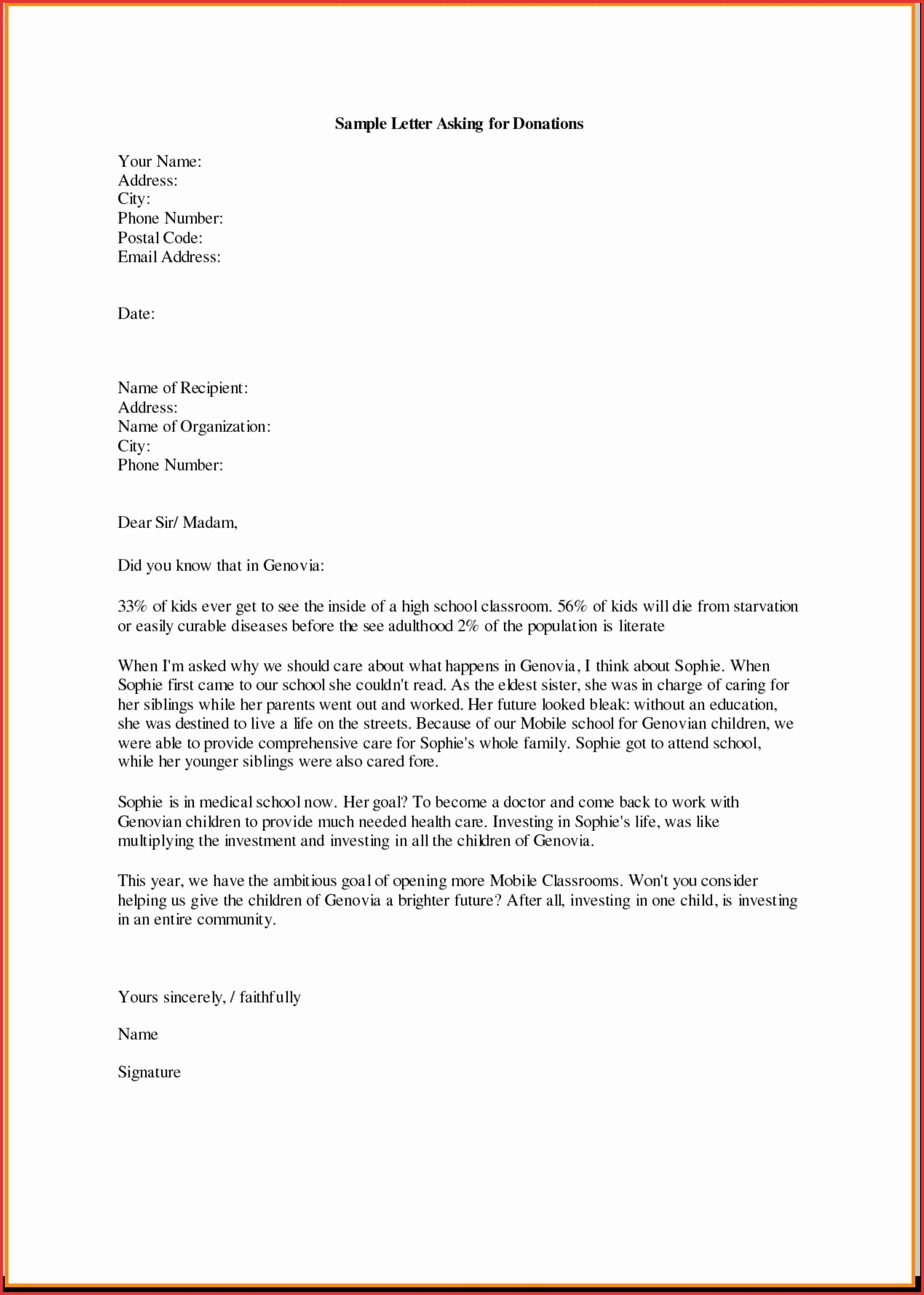 Donation Request Letter Template - Sample Donation Request Letter for School Best Business Donation