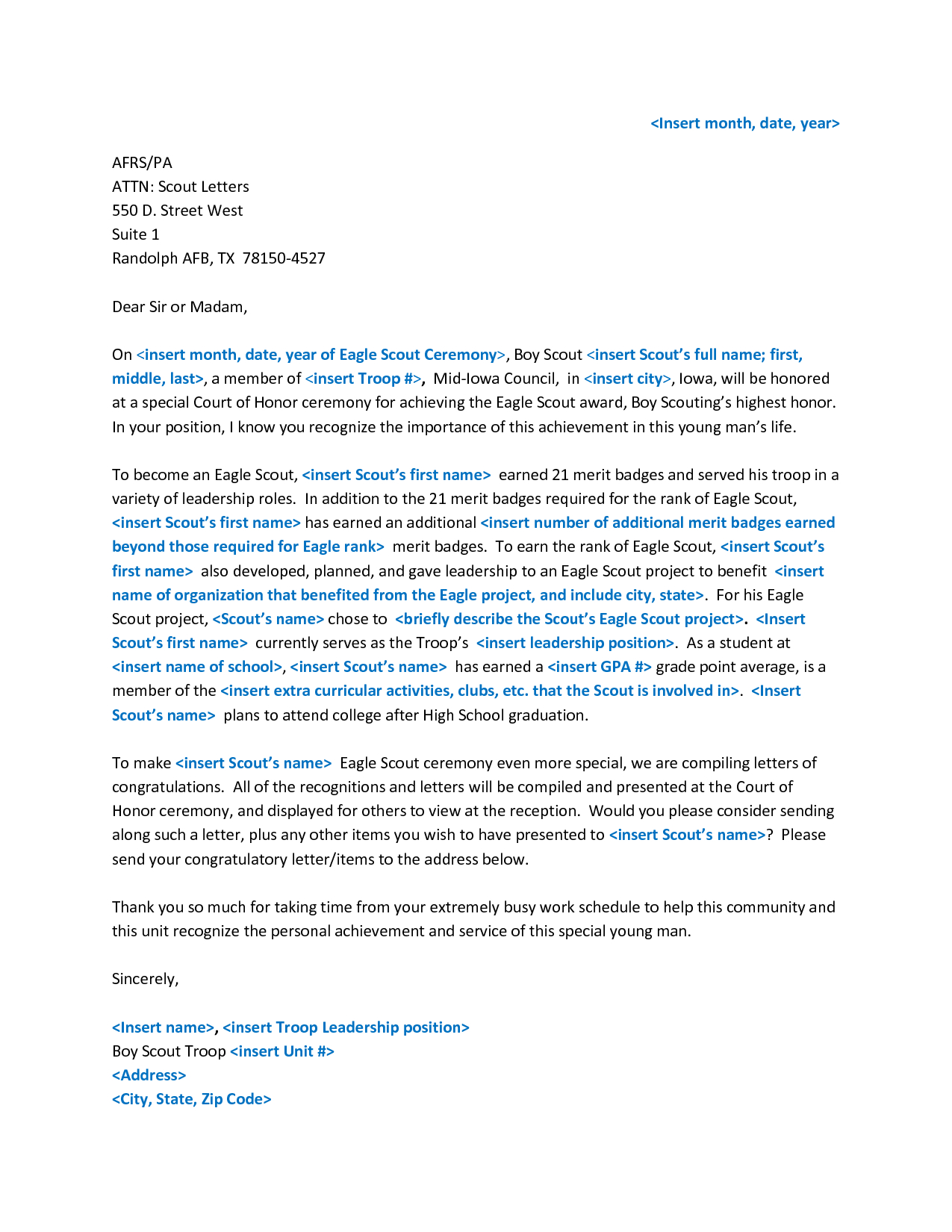 Generic Letter Of Recommendation Template - Sample Eagle Re Mendation Letter Acurnamedia