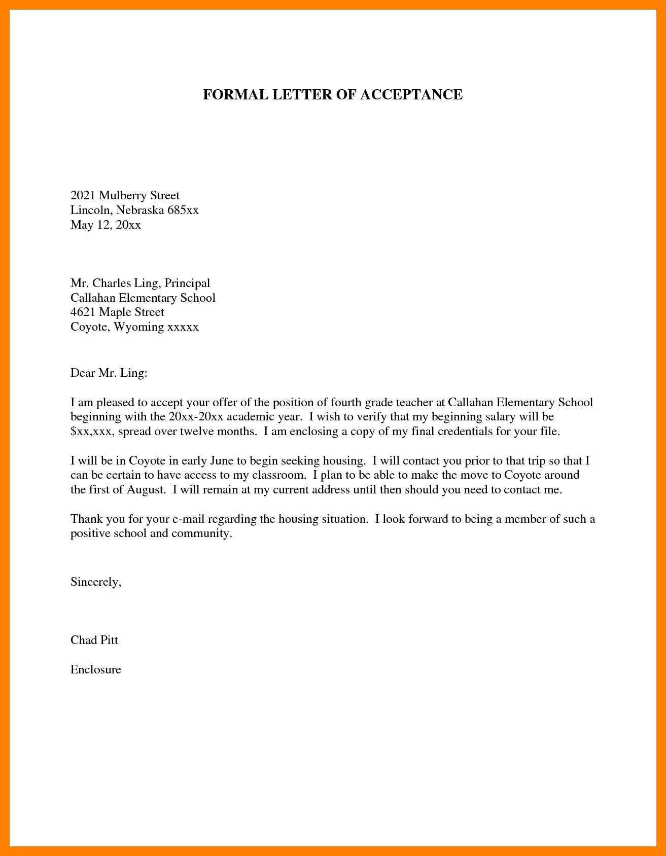 Credentialing Approval Letter Template - Sample formal Business Letter Template Fresh Admission Acceptance